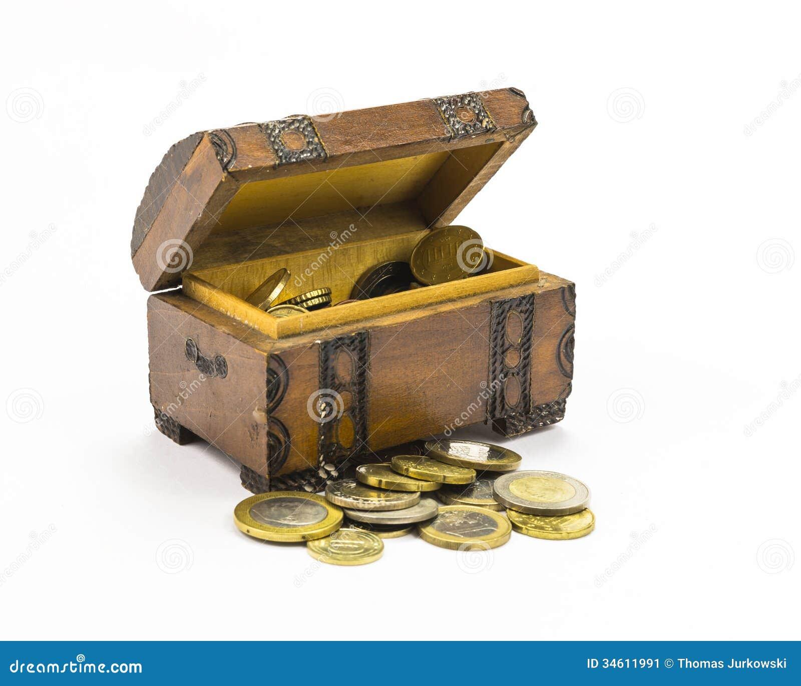 Monedas en la caja