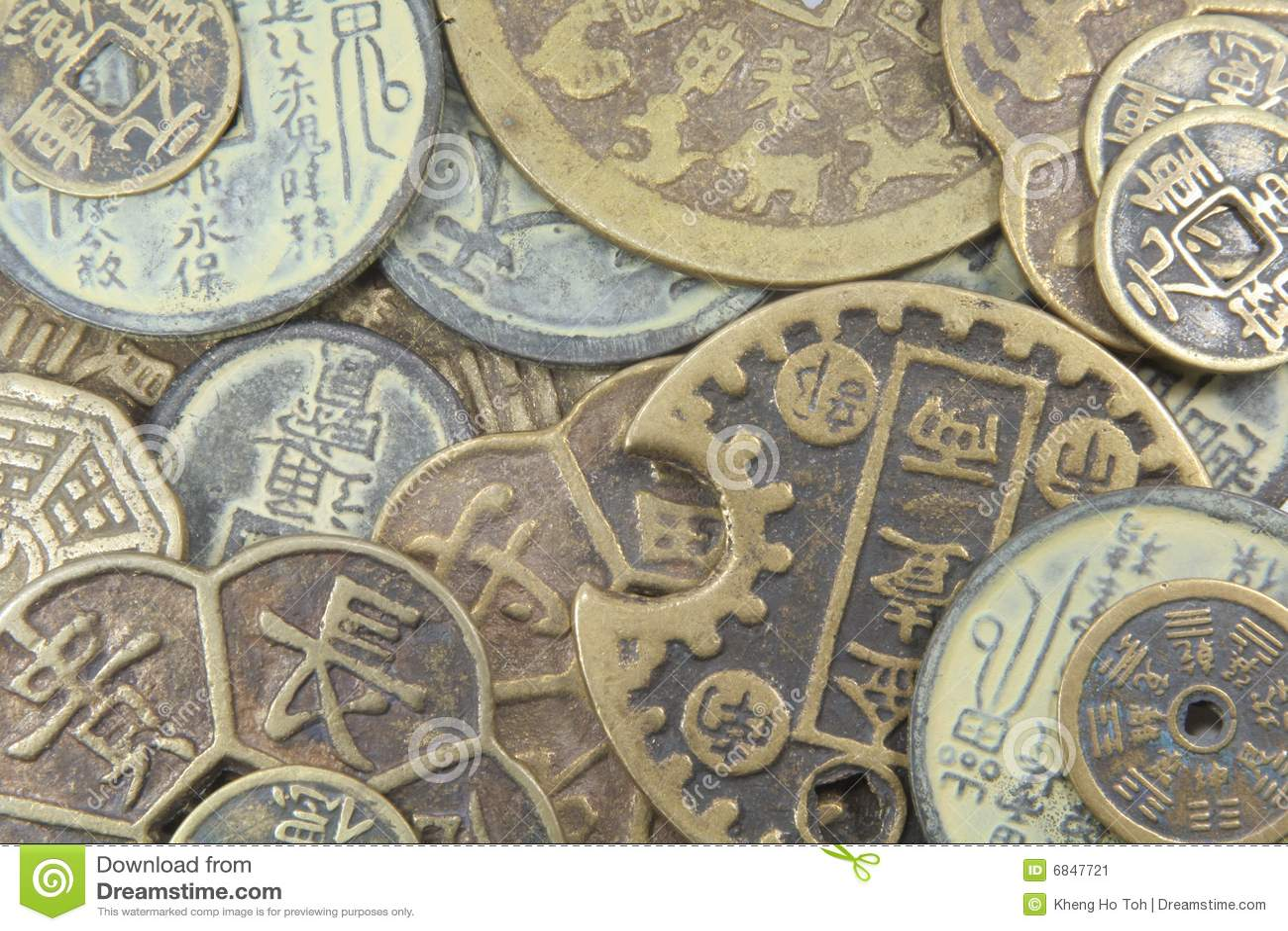 Monedas viejas asiáticas del dinero en circulación del asunto