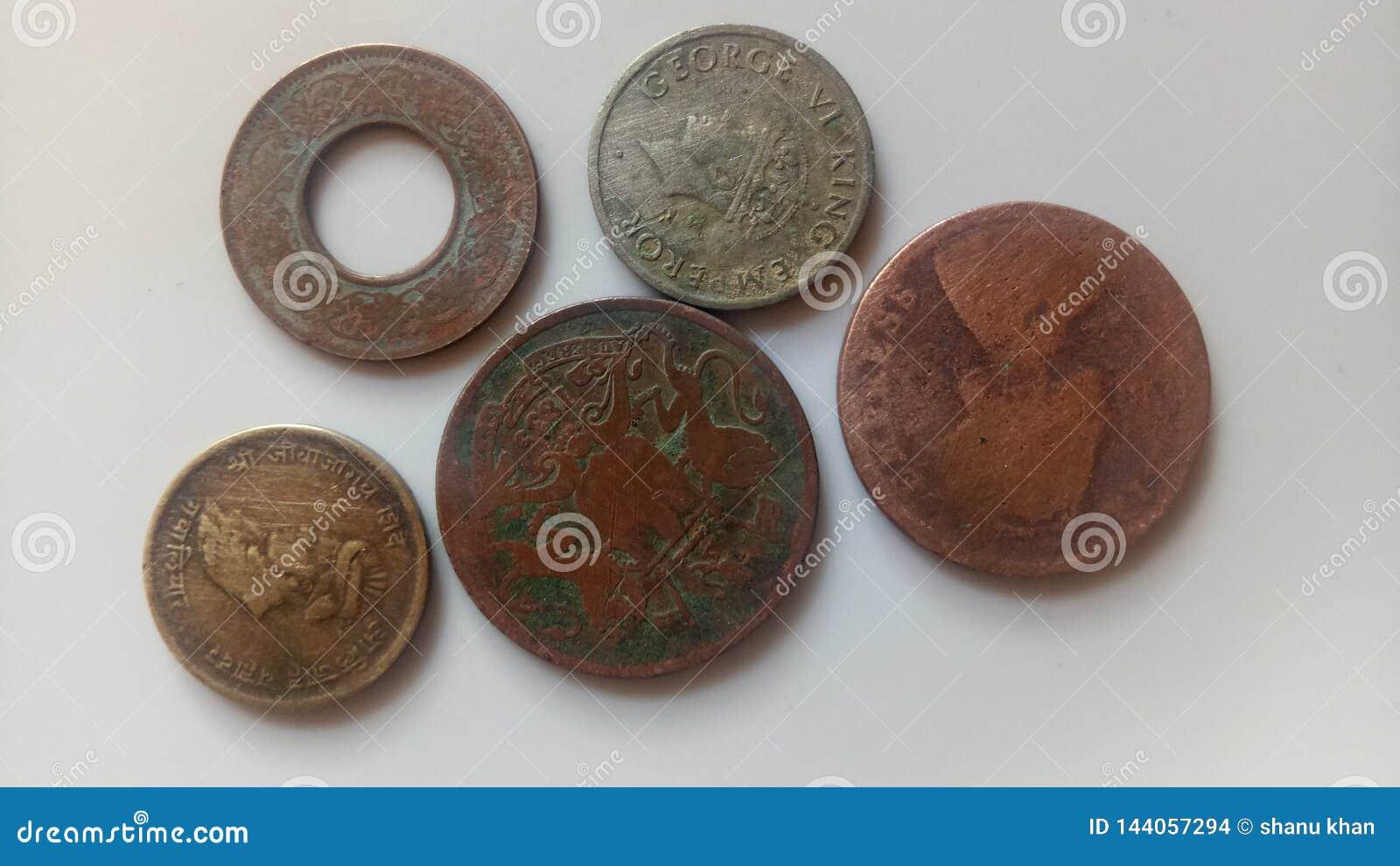 Monedas viejas indias
