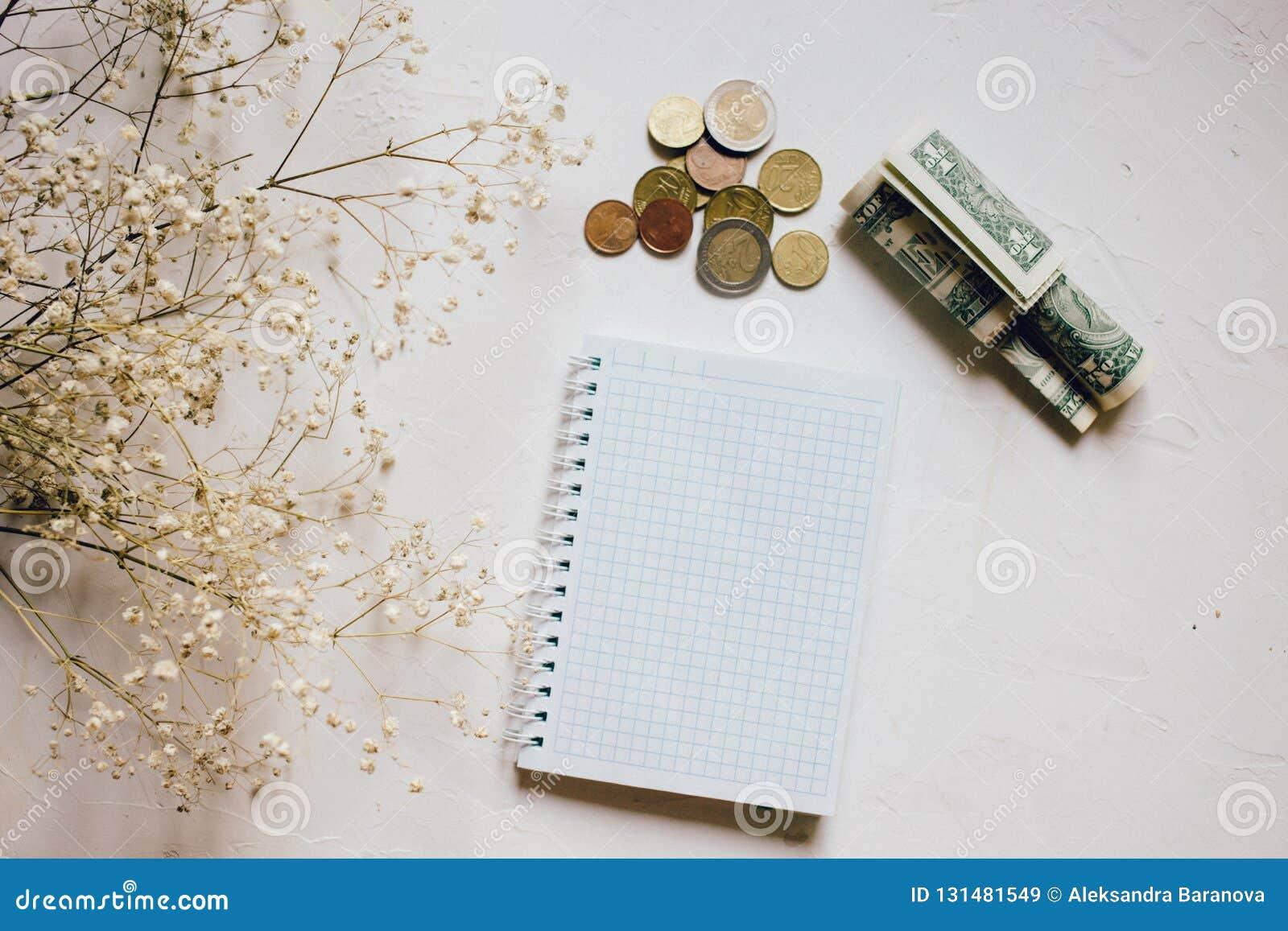 Monedas y efectivo, flor seca, cuaderno vacío del dinero en blanco