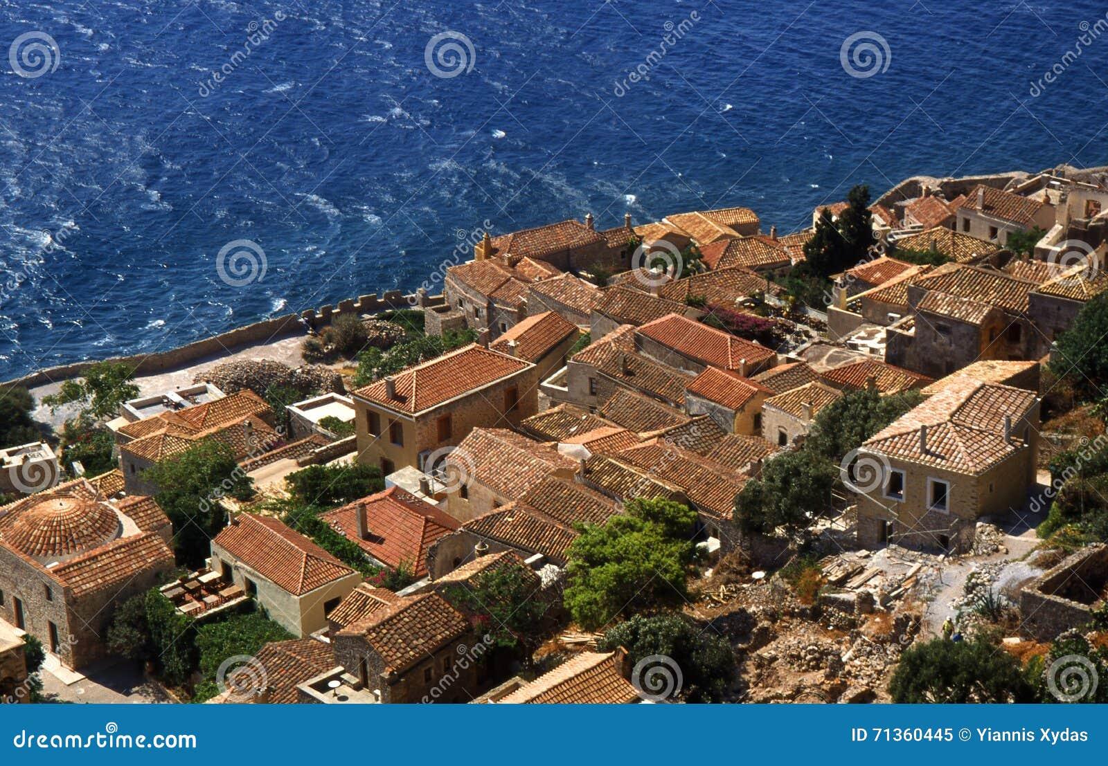 Monemvasia village in mountains on peninsula Monemvasia, Peloponnese, Greece/Beautiful ancient town Monem vasia, Greece
