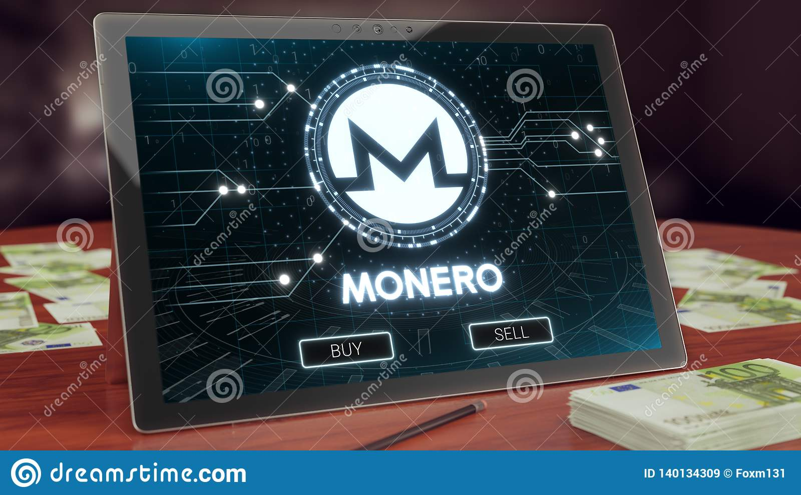 Monero cryptocurrency logo on the pc tablet, 3D illustration