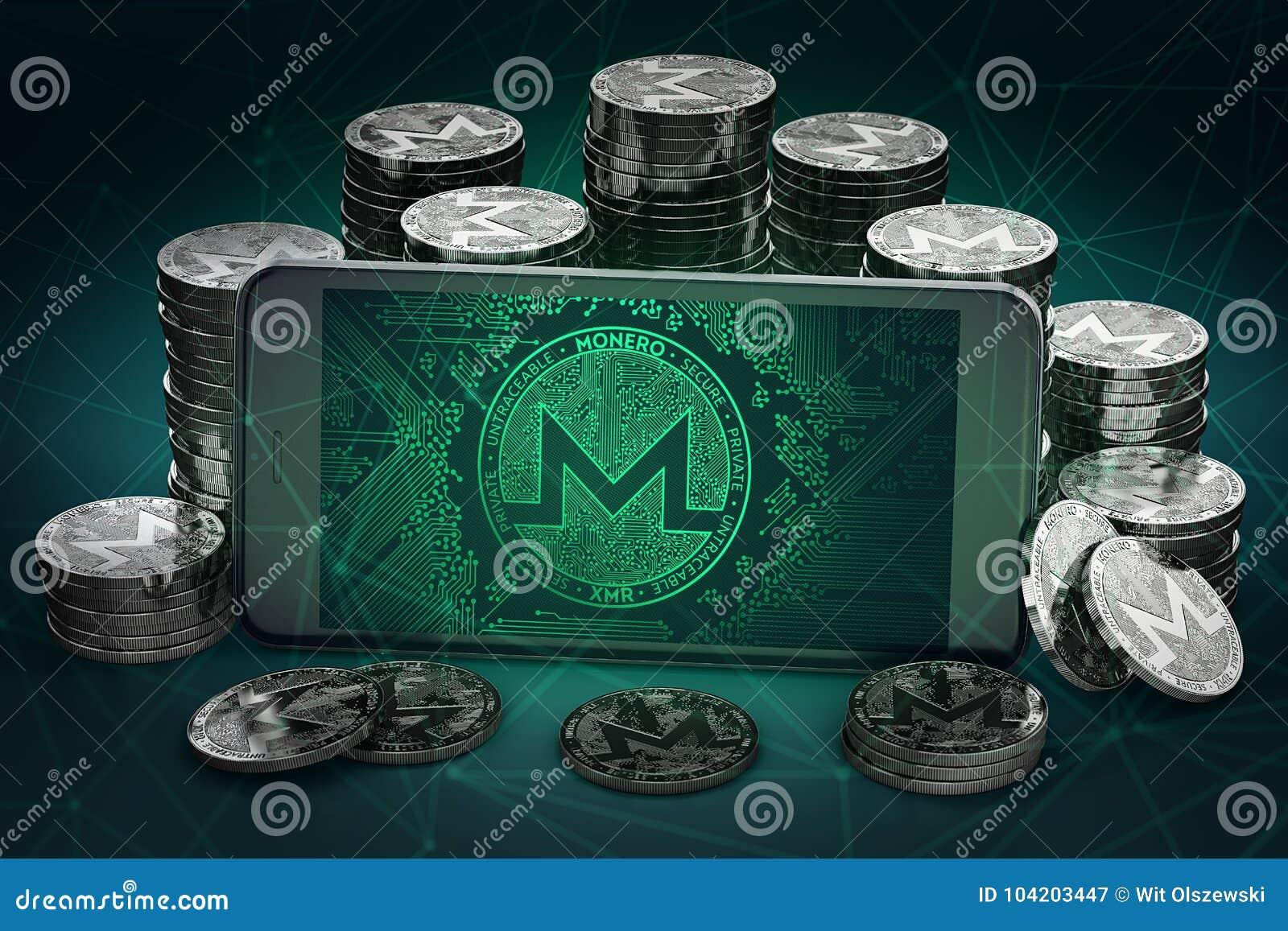 Monero-Symbol, das unter Stapel von Monero Bildschirm ist, prägt
