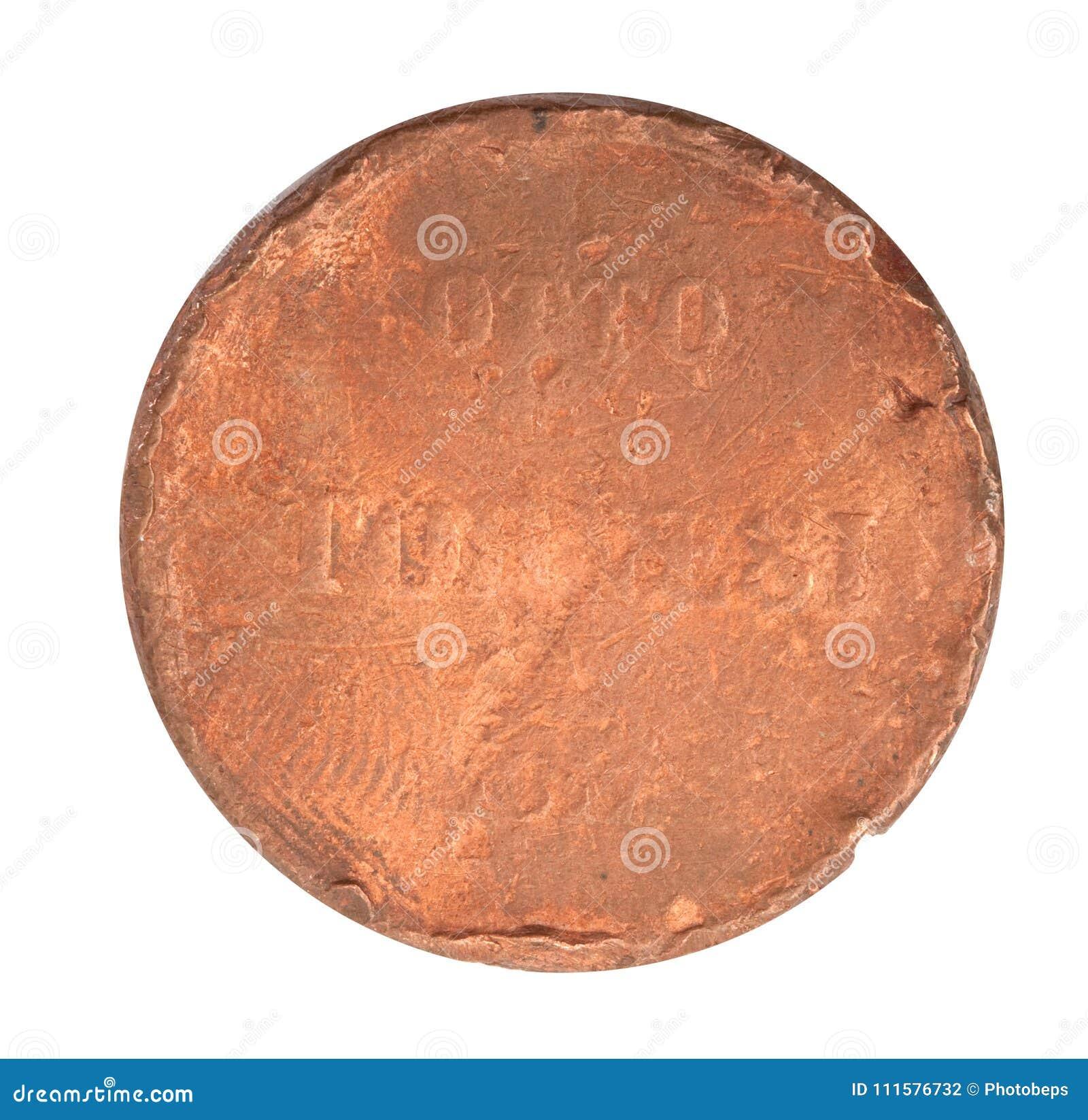 Moneta d annata del metallo nel fondo bianco