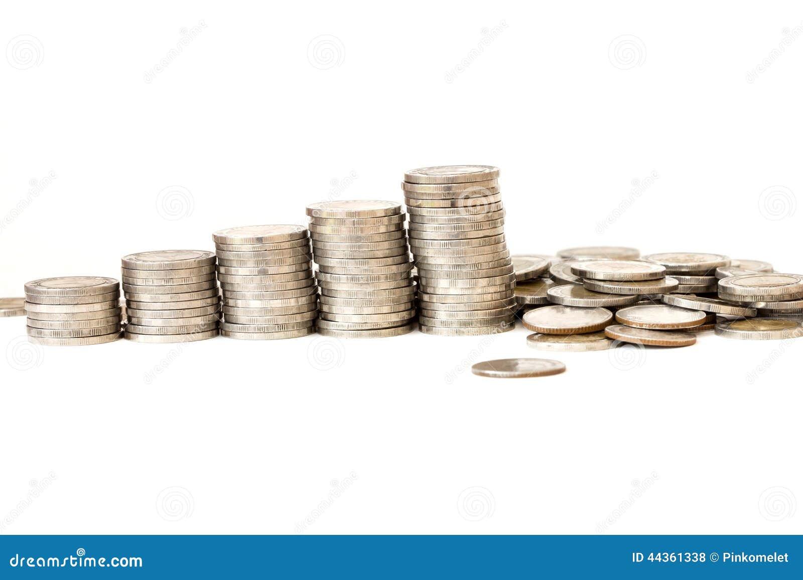 Moneta d argento, concetto aumentante dei soldi su bianco