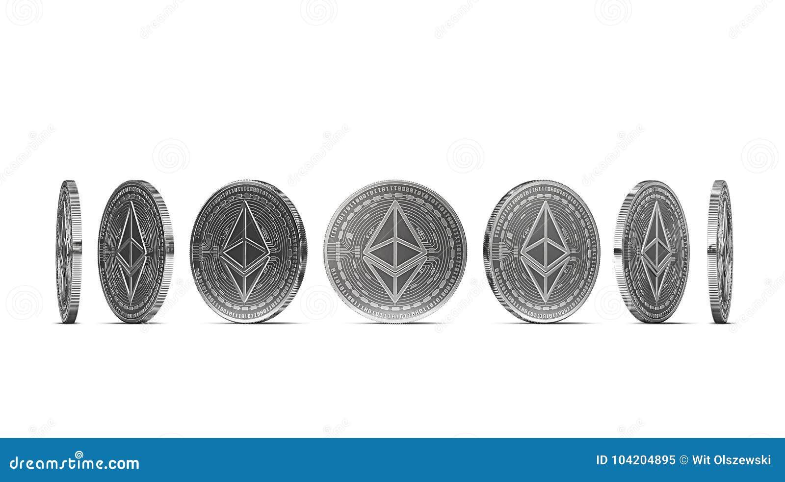 Moneta d argento di Ethereum indicata da sette angoli isolati su fondo bianco Facile tagliare ed usare angolo particolare della m