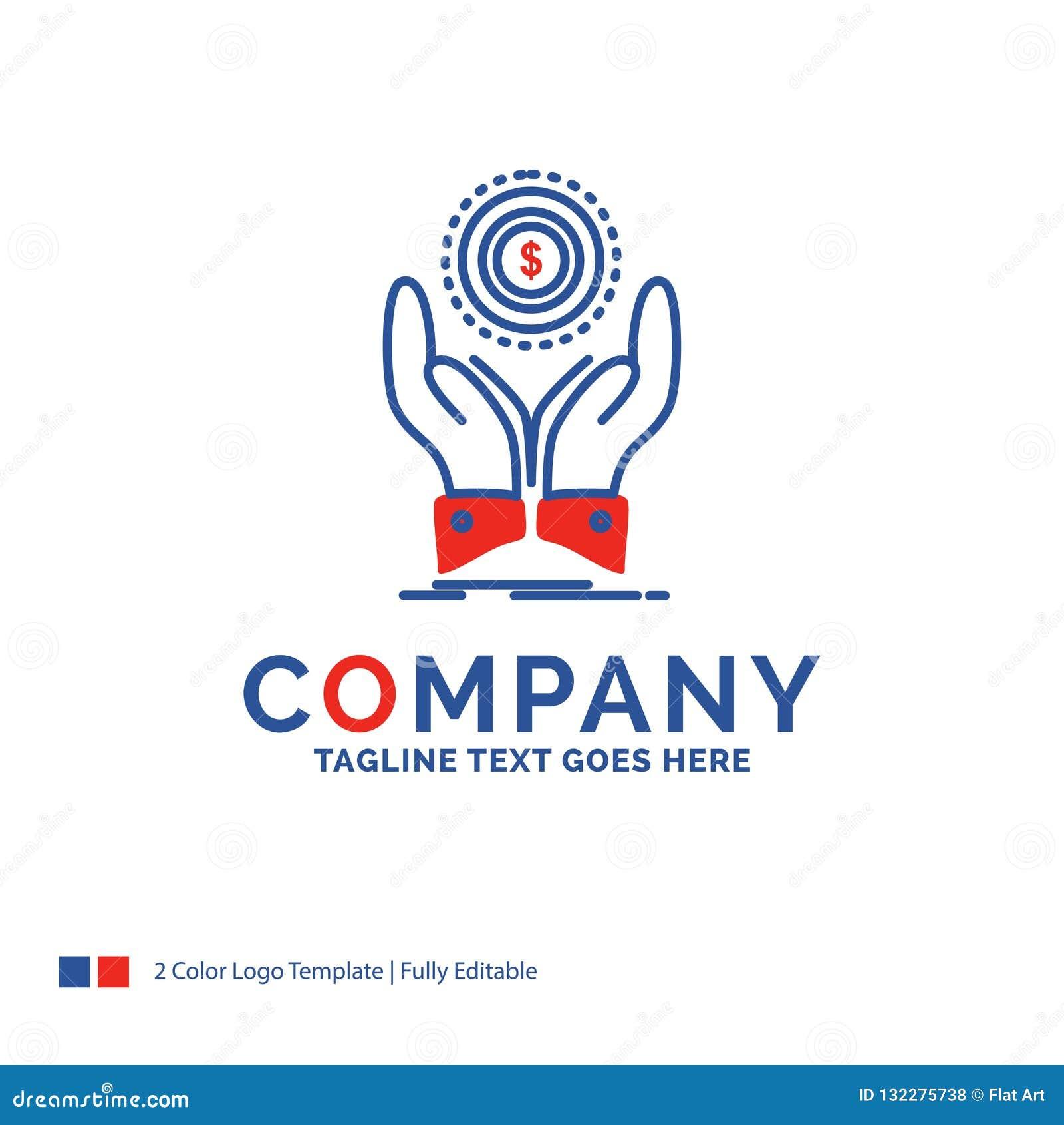 Moneta di Logo Design For di nome di società, mano, pila, dollaro, reddito