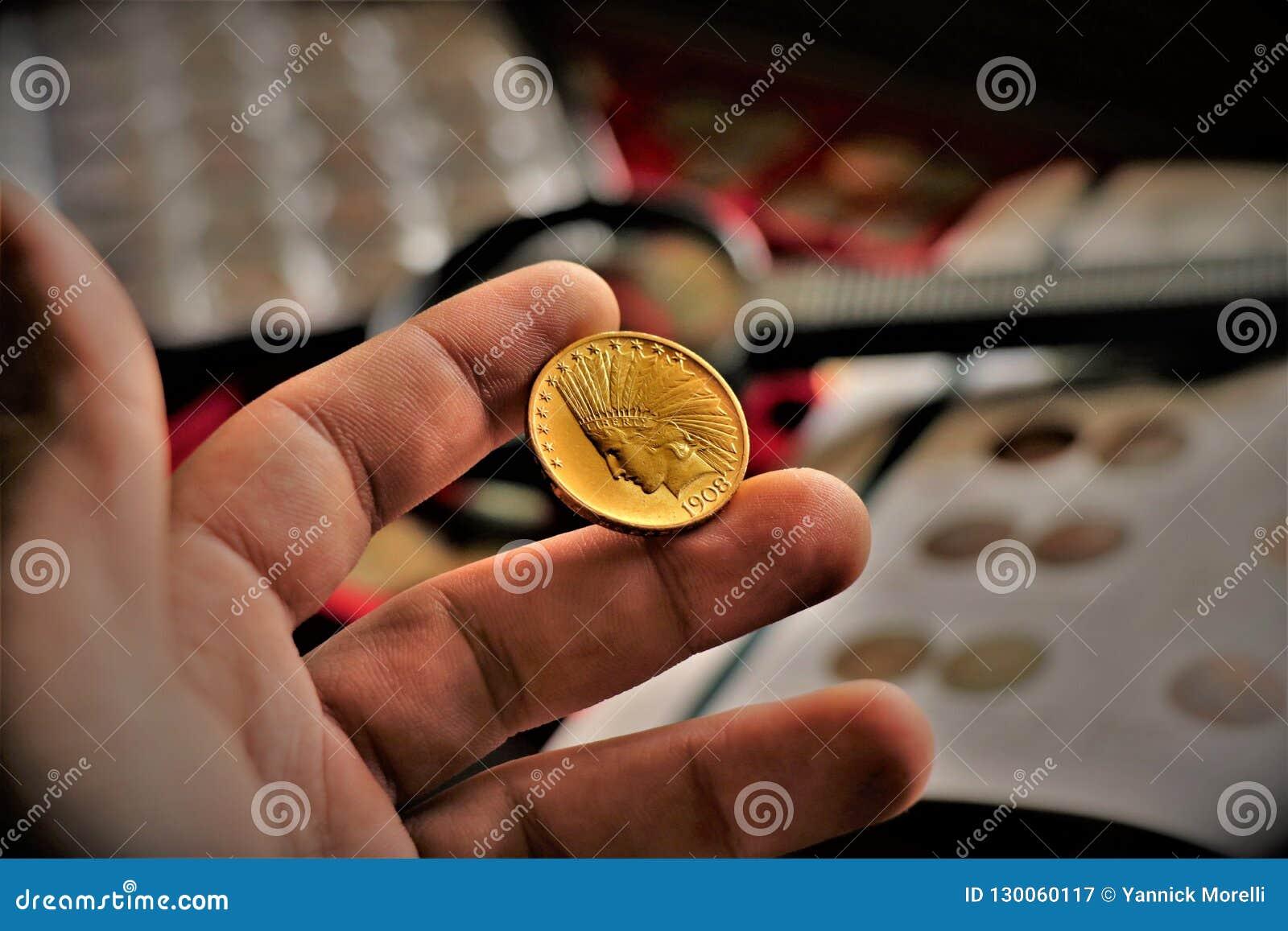 a disposizione vendita calda a buon mercato colori delicati Moneta Di Oro Capa Indiana Degli Stati Uniti Chiuda Su Di ...