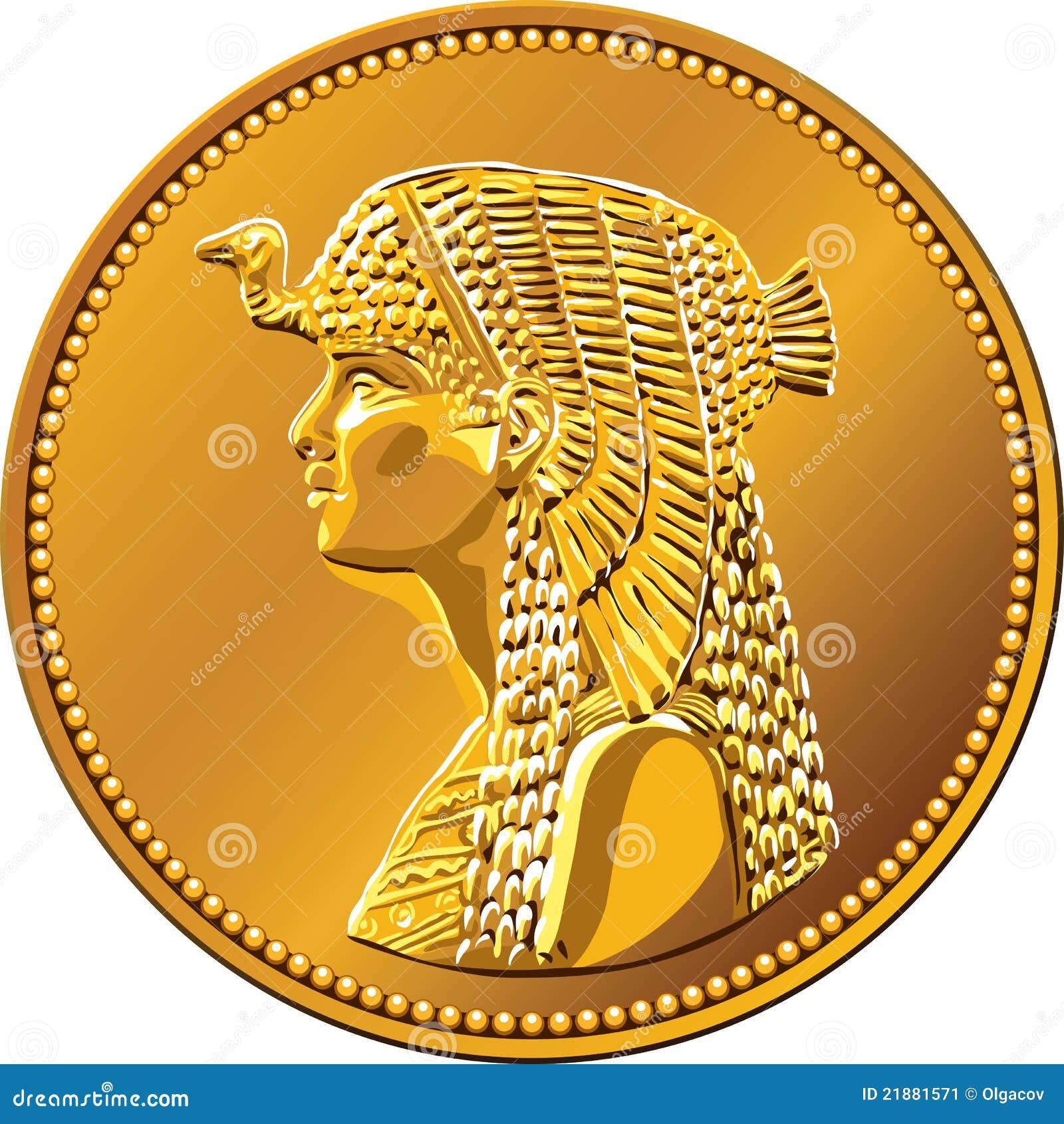 Вектора - египетский - деньги - золотая - монета - королева .