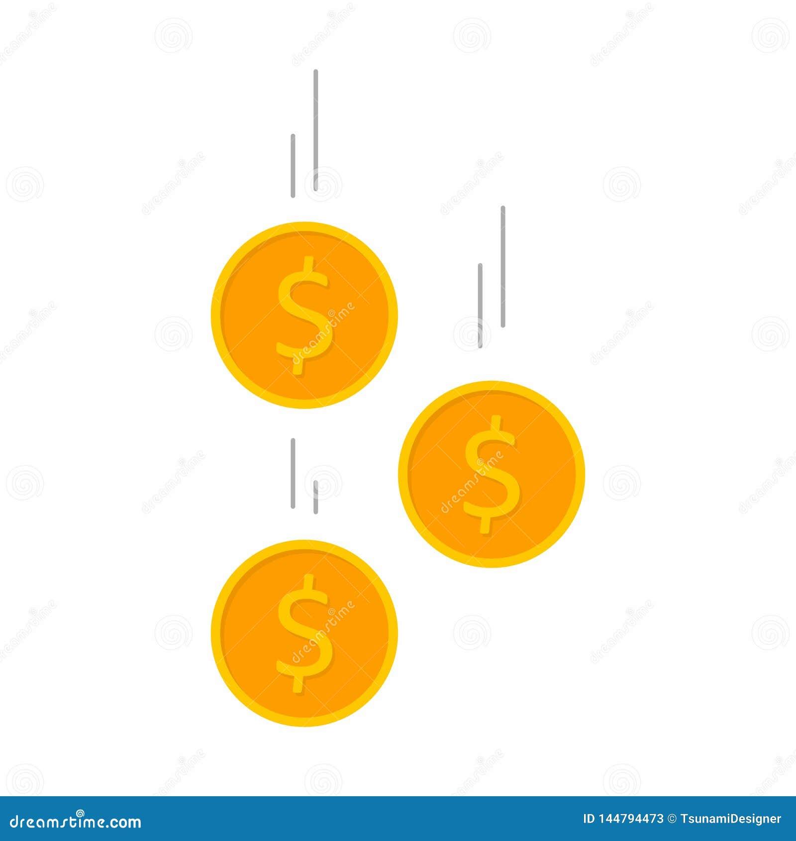 Moneta, dolar, finanse, biznes, Żadny tło, wektor, Płaska ikona, Spada monety, spada pieniądze, lata złociste monety, złoty