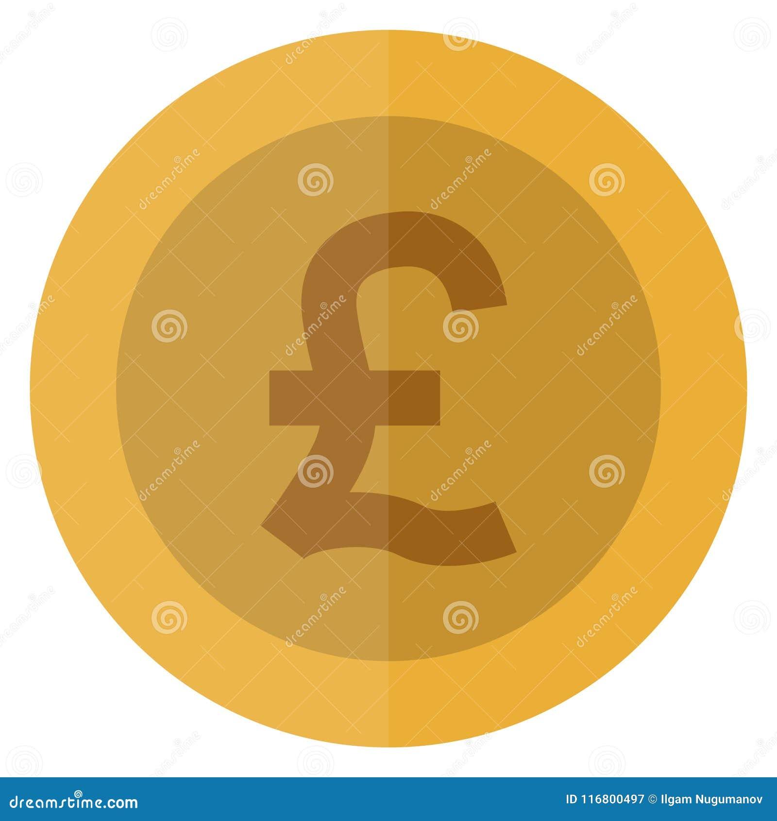 Moneta rotonda di sterlina di valuta piana Il Regno Unito, Inghilterra, Gran-Bretagna Valuta del casinò, moneta di gioco, illustr