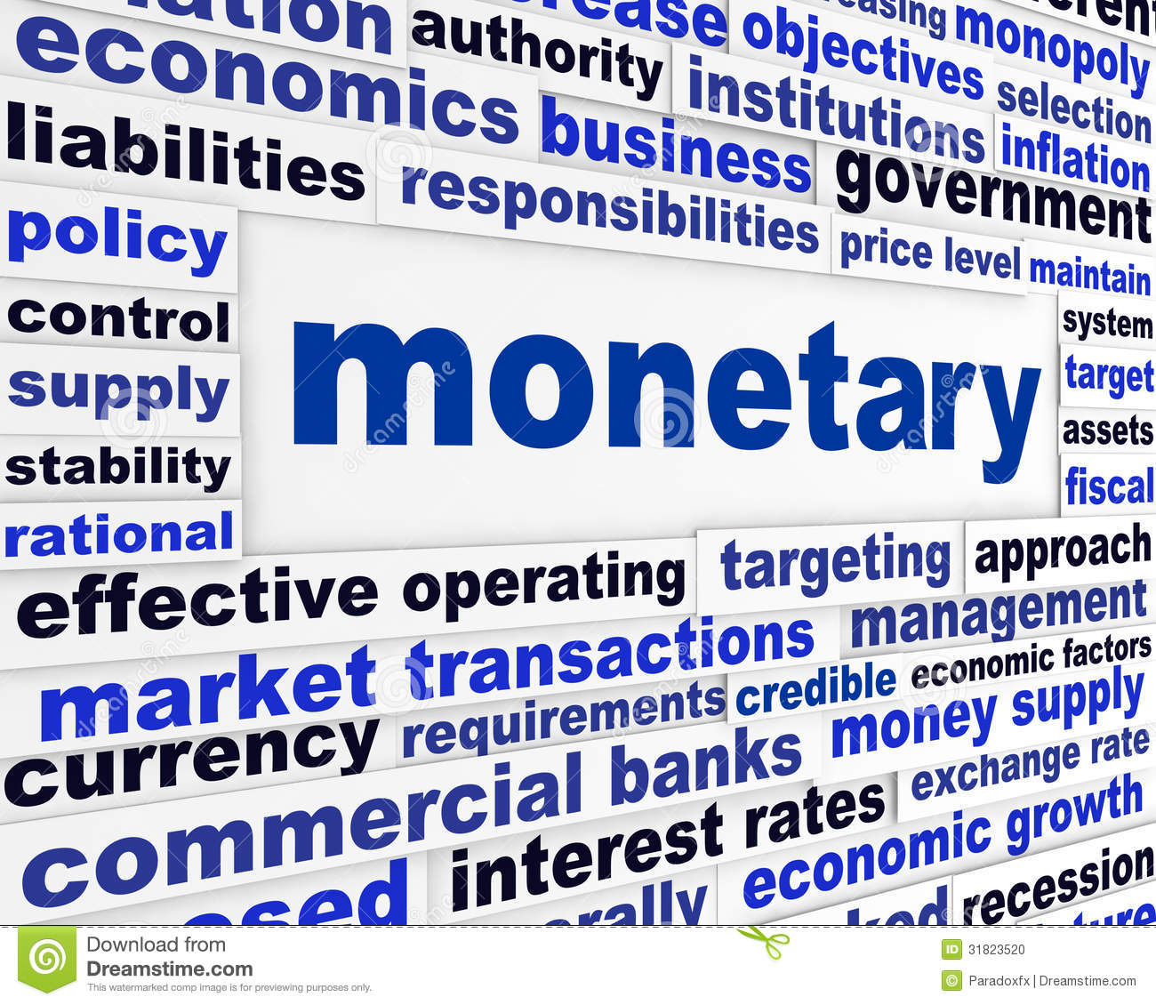 Finance Words: Monetary Business Words Poster Stock Photo