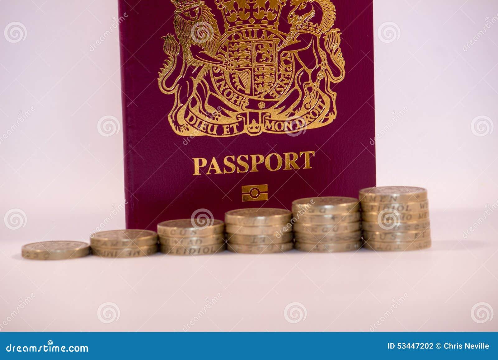 Monete di libbra impilate nella parte anteriore sul passaporto BRITANNICO