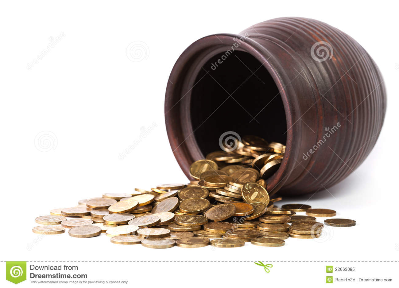 Monete dorate che cadono dal POT