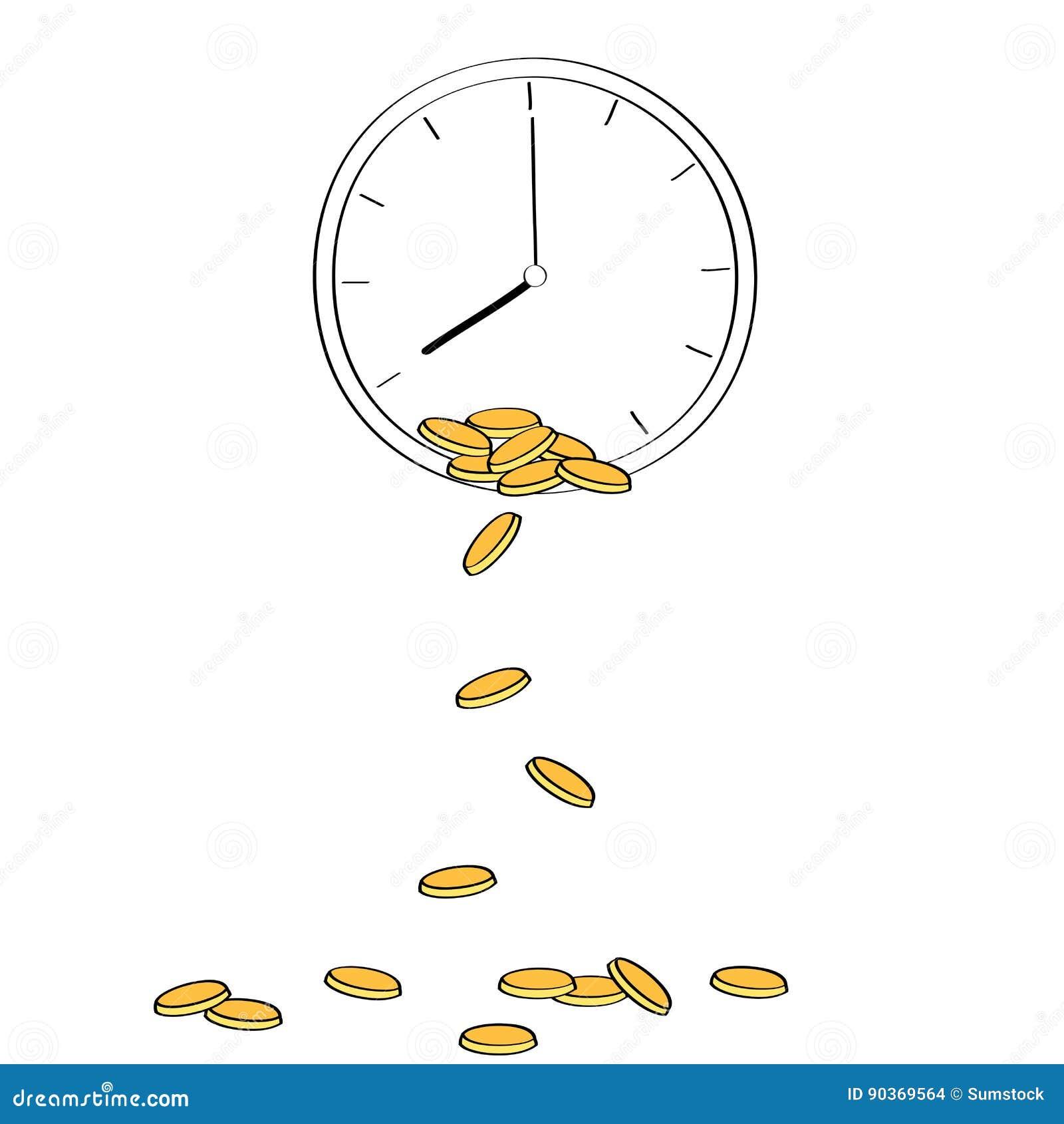 Monete dorate che cadono dall orologio che descrive concetto di