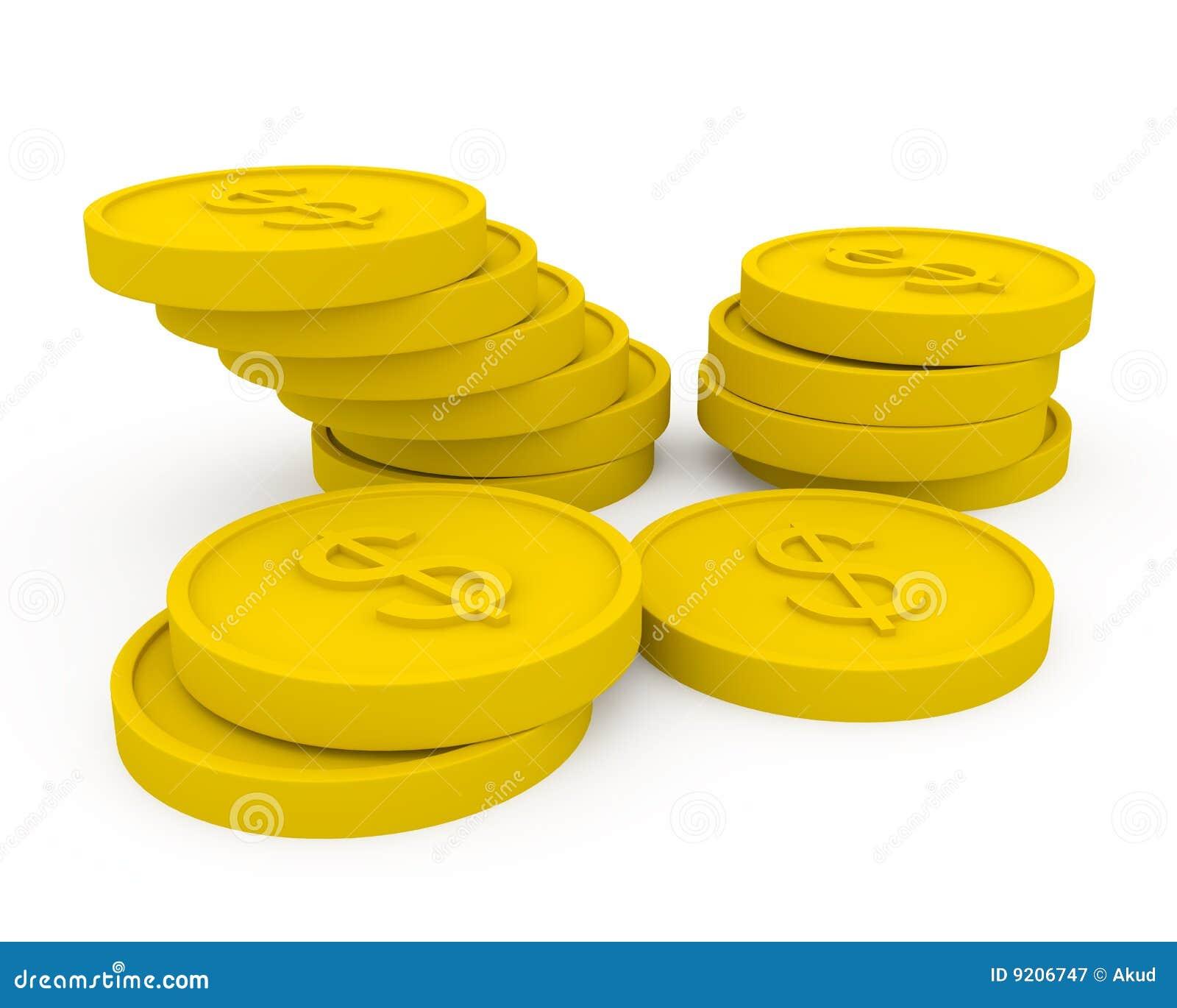 Monete dorate nello stile del fumetto