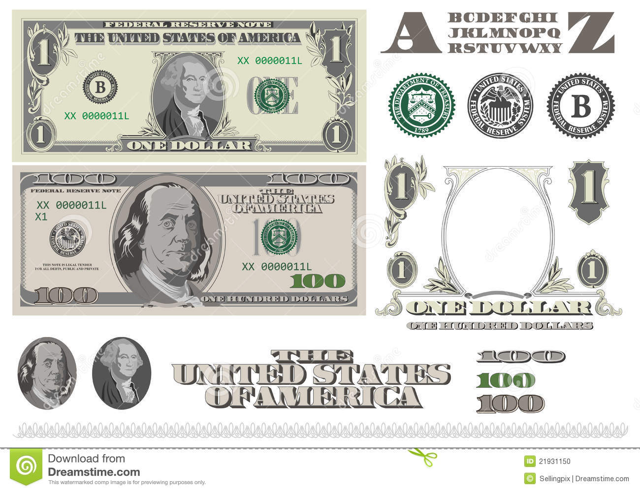 money 1 and 100 dollar bills template stock illustration