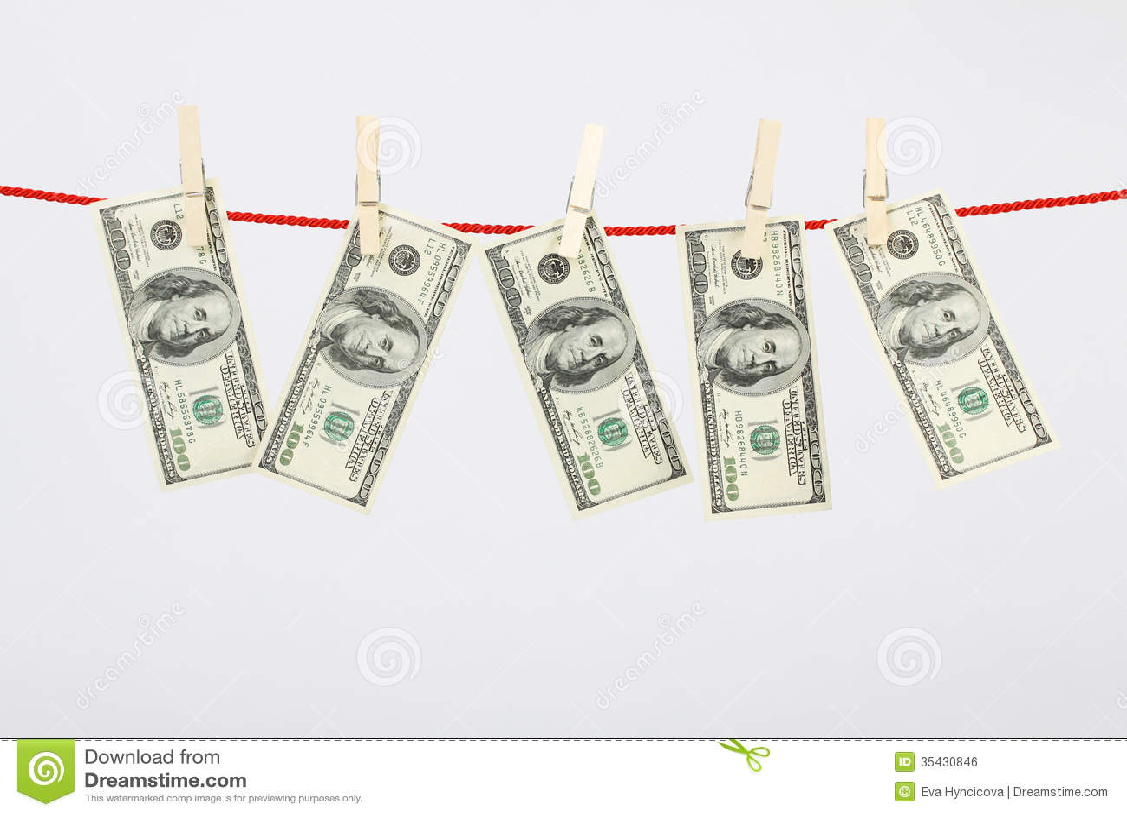 Money American Hundred Dollar Bills Hanging On Laundry
