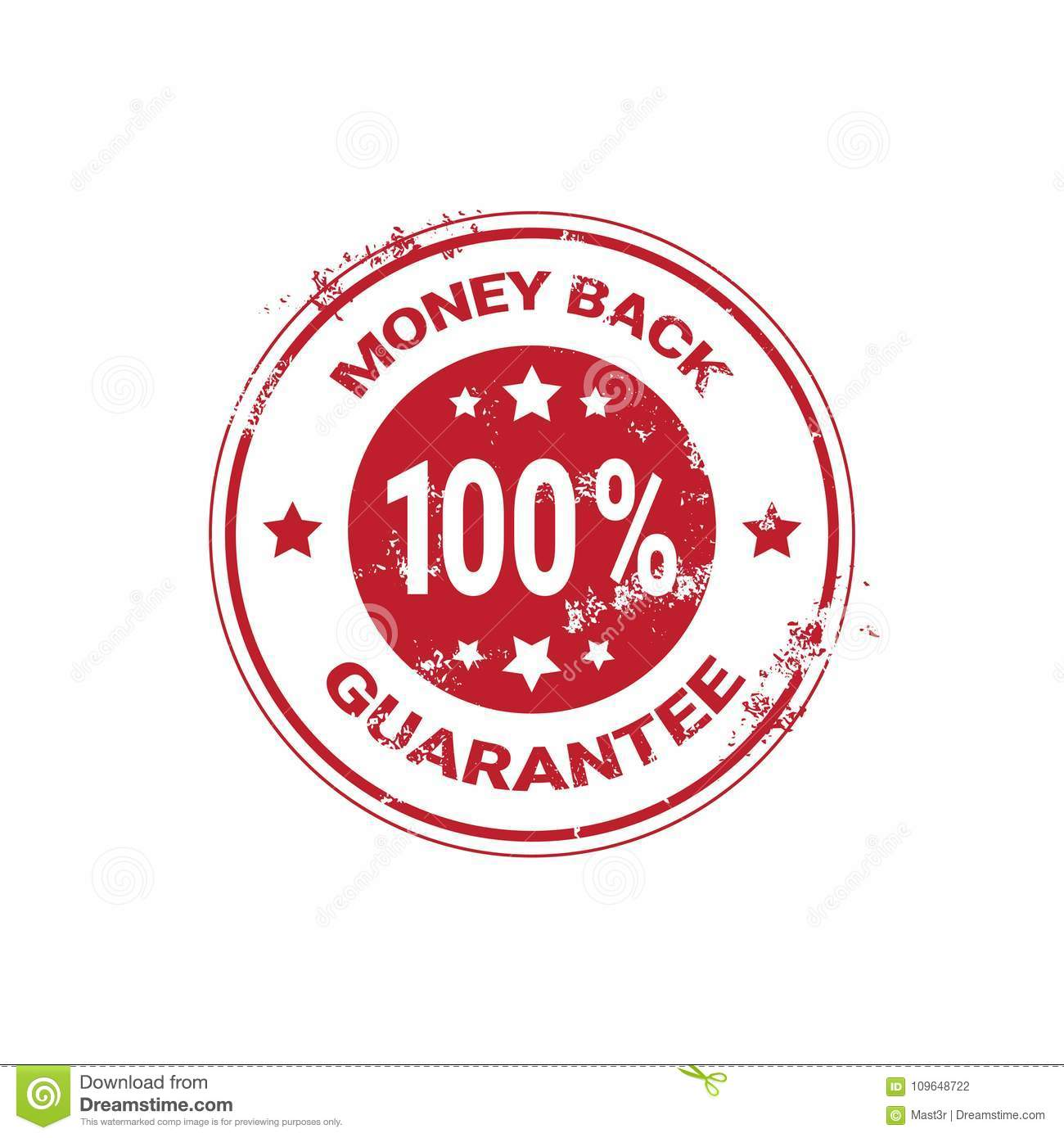 Money Back Guarantee Grunge Red Sticker Or Stamp Template Isolated