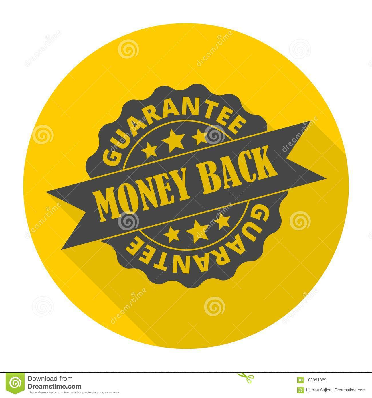 Money back guarantee icon with long shadow
