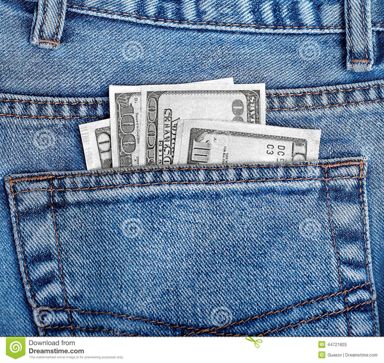 Money In The Back Pocket Of Jeans Stock Photo Image