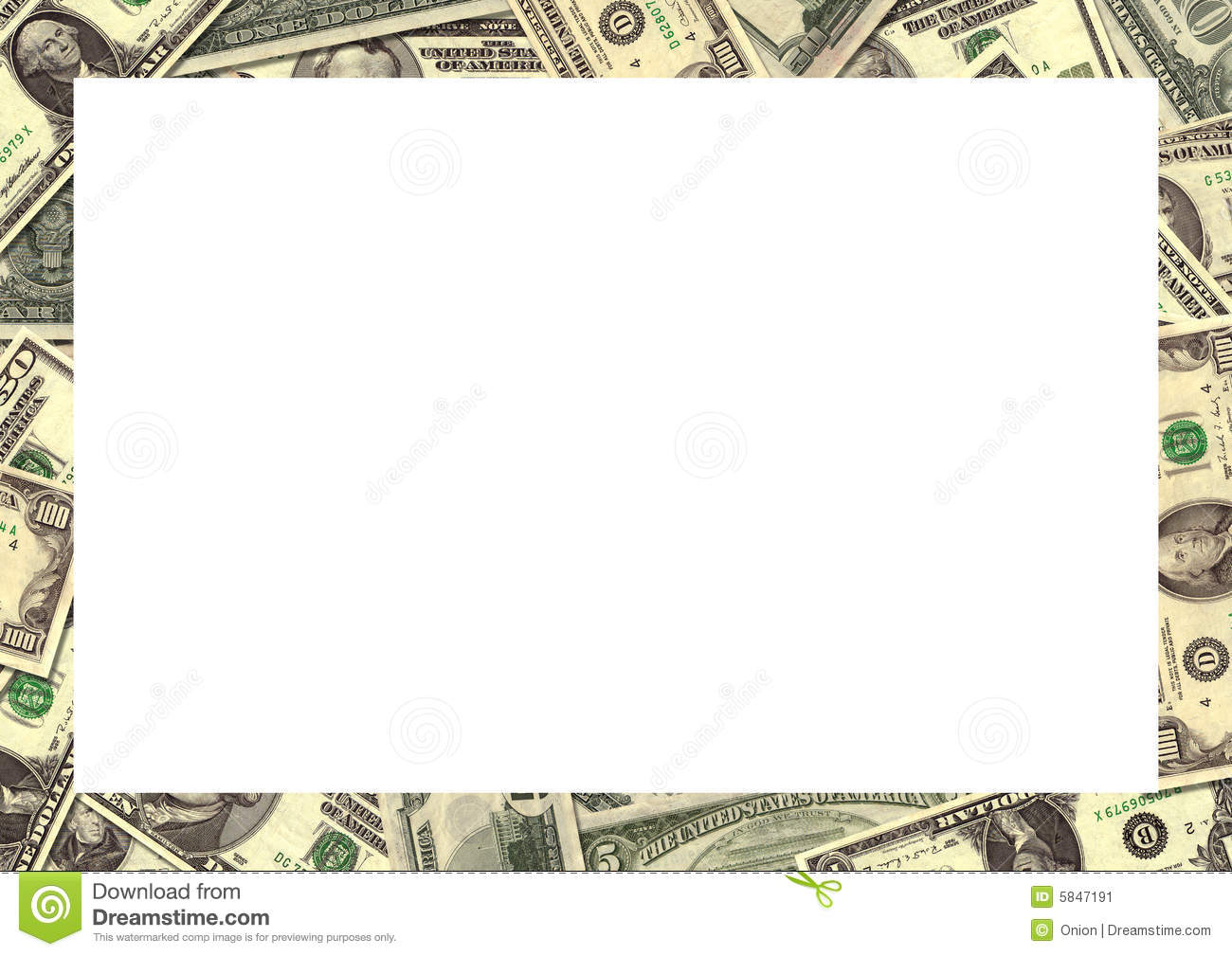 American dollars randomly placed to create a background border.