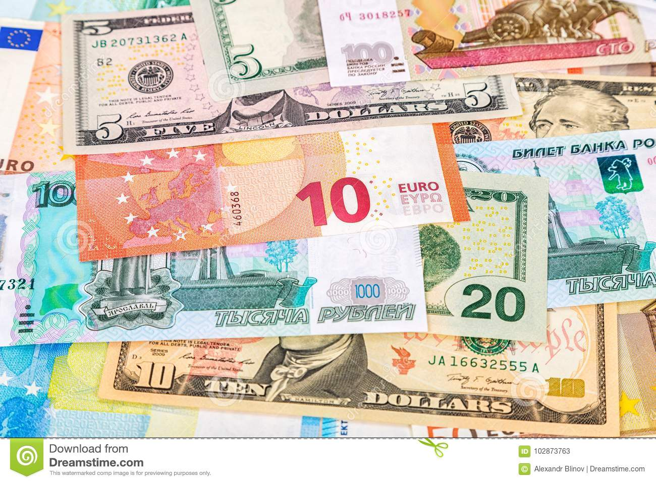 Background From Paper Currency Of Euro American Dollars A