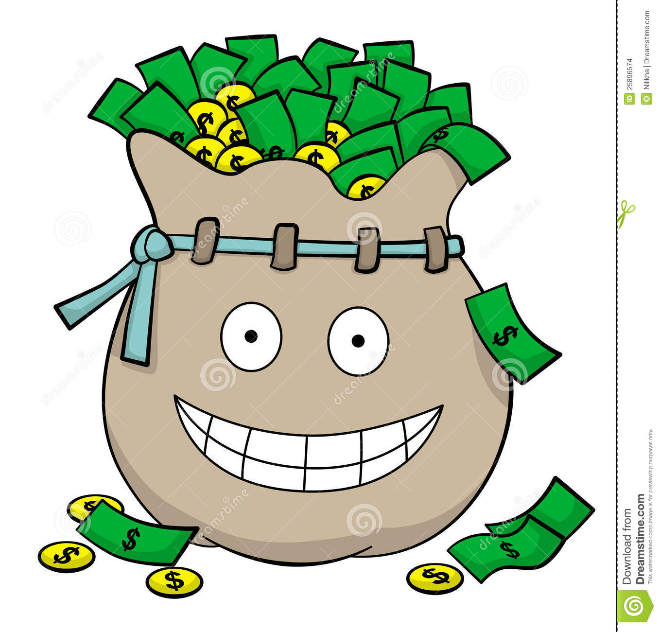 cute illustration of a bag full of money with a smiling face.