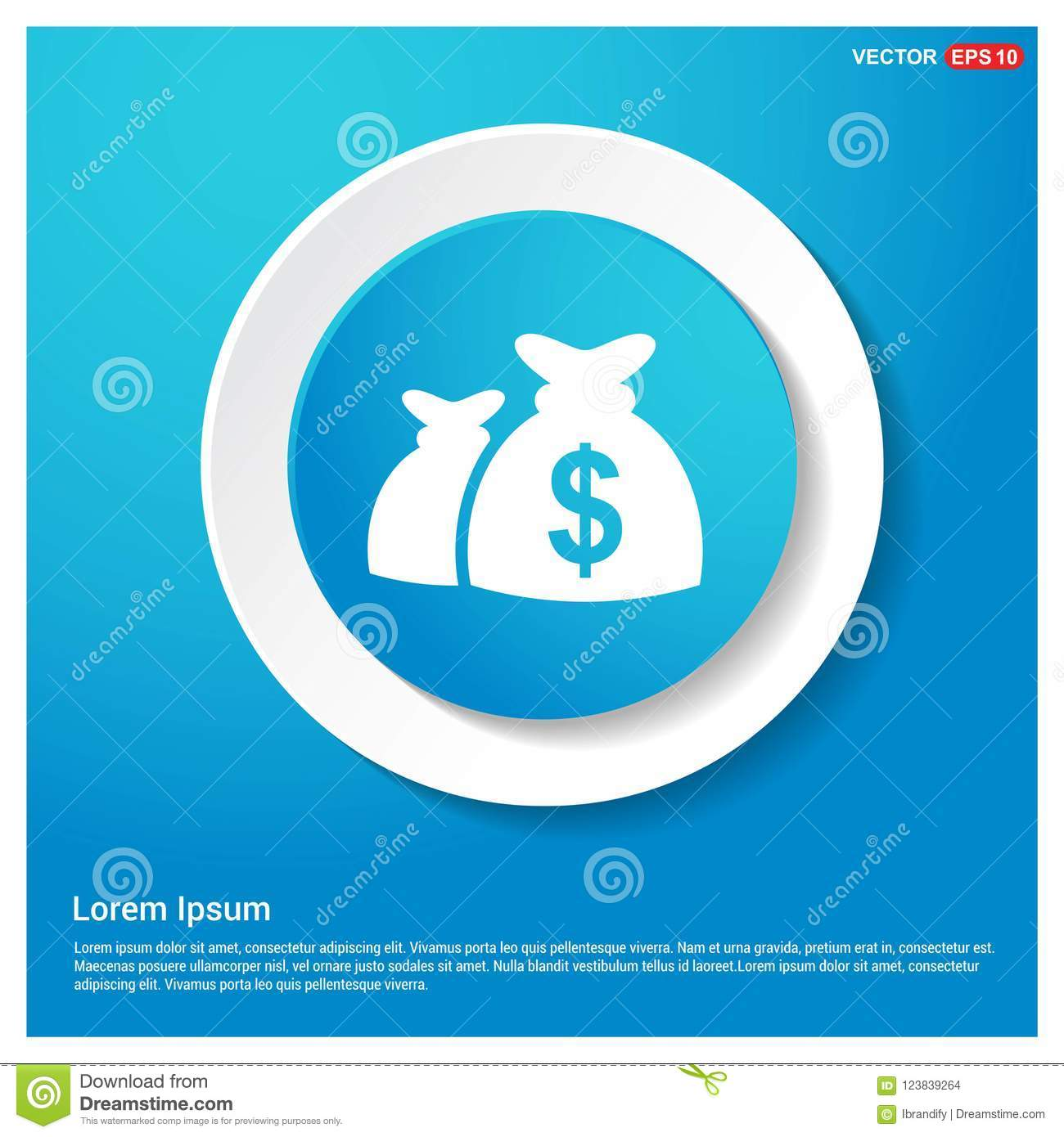 money bag icon abstract blue web sticker button stock vector