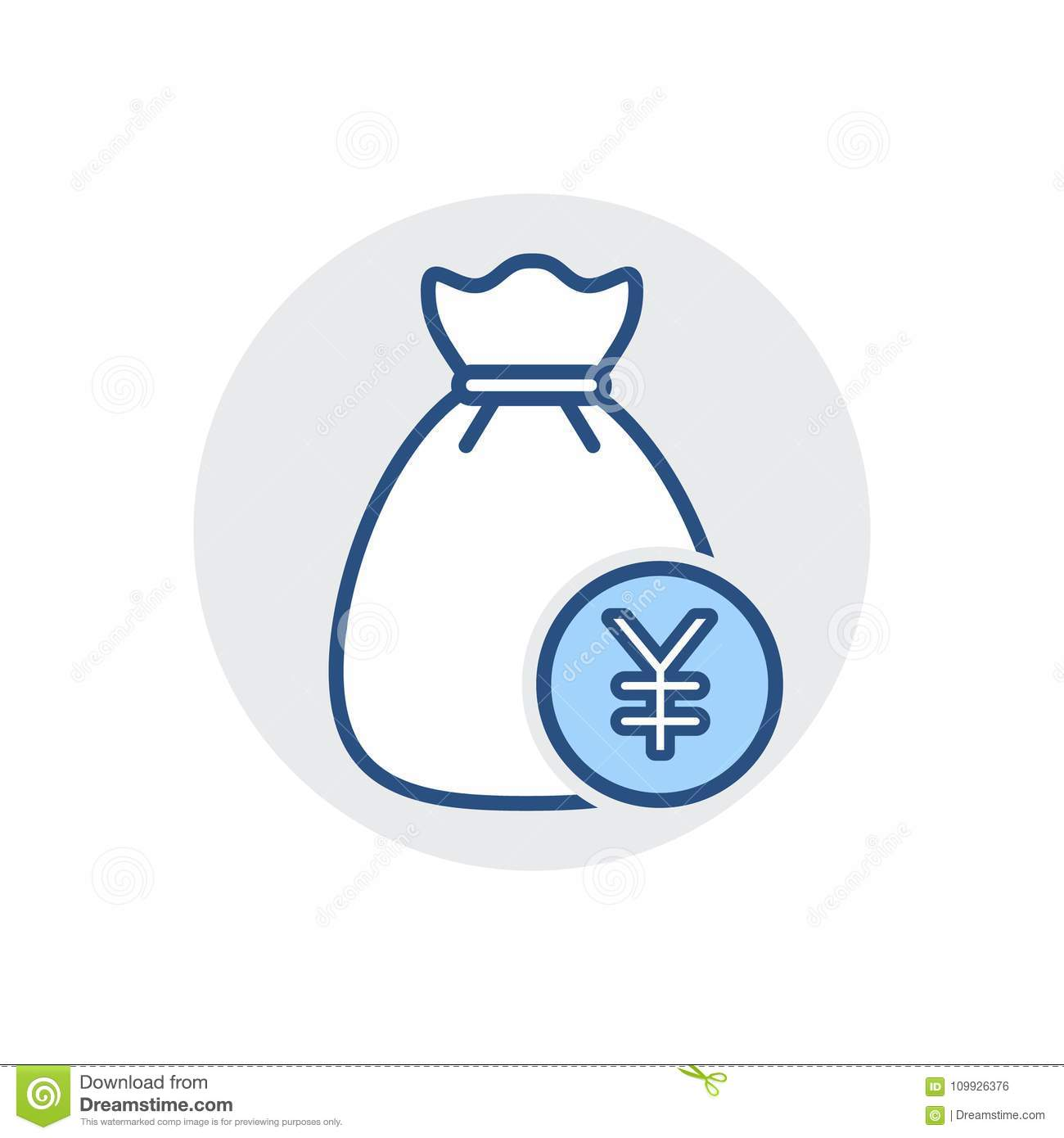 Money Bag Icon. Bank Cash, Finance, Fund, Tax Icon Stock Vector