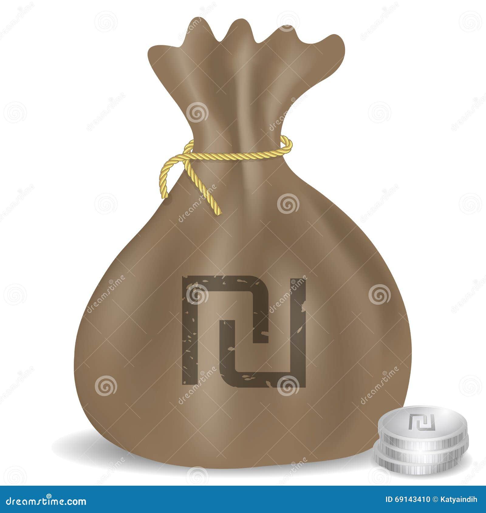 Money Bag Icon With Israeli Shekel Symbol Stock Vector