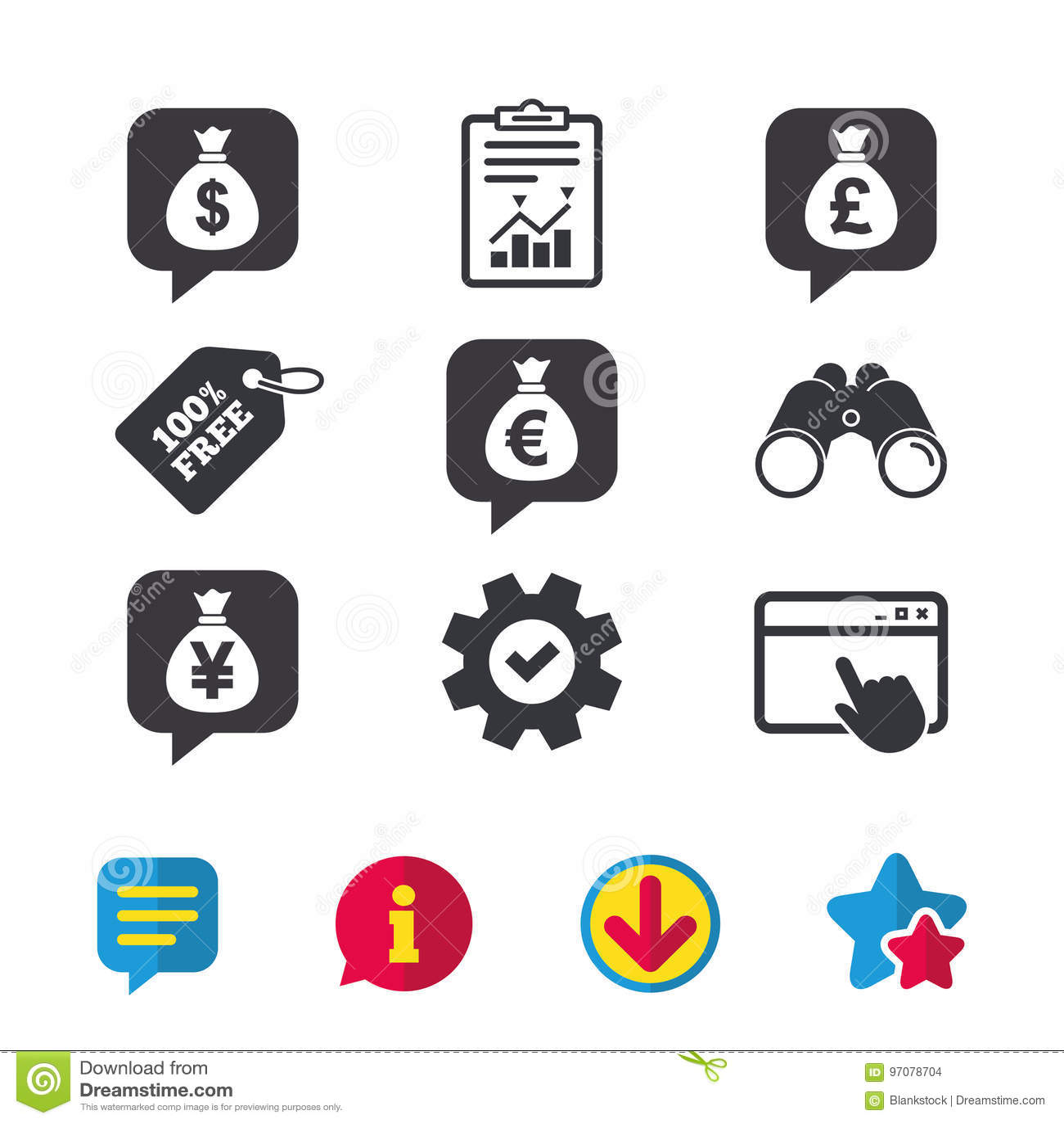Money Bag Icons Dollar Euro Pound And Yen Stock Vector