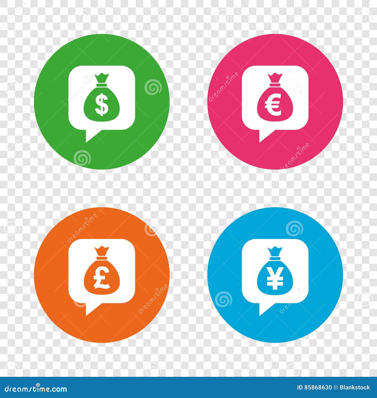 Money bag icons dollar euro pound and yen stock vector dollar euro pound and yen biocorpaavc Gallery