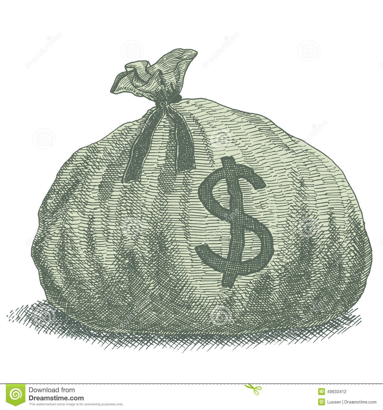 Old-style vintage vector drawing of a sack of money with dollar sign.