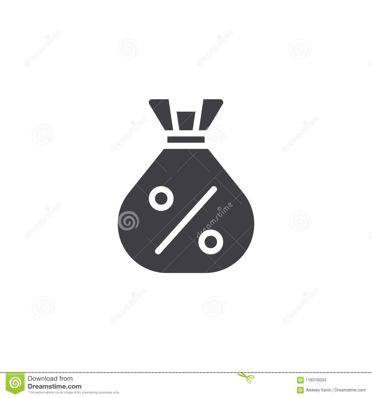 money bag with percent vector icon stock vector illustration of