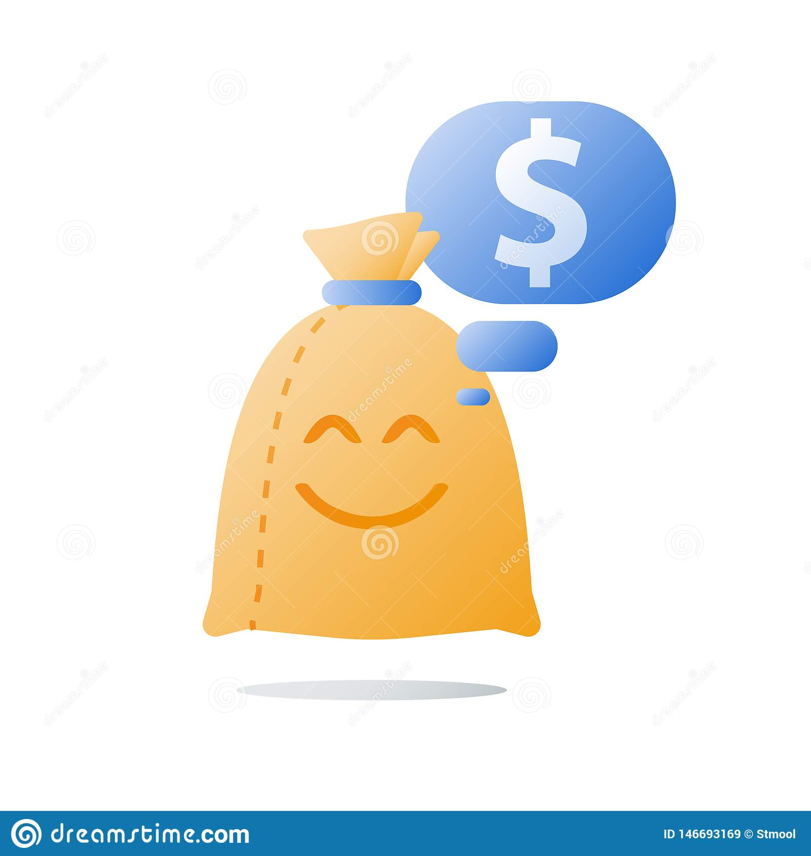 Easy Loan, Money Bag With Smile, Financial Satisfaction ...