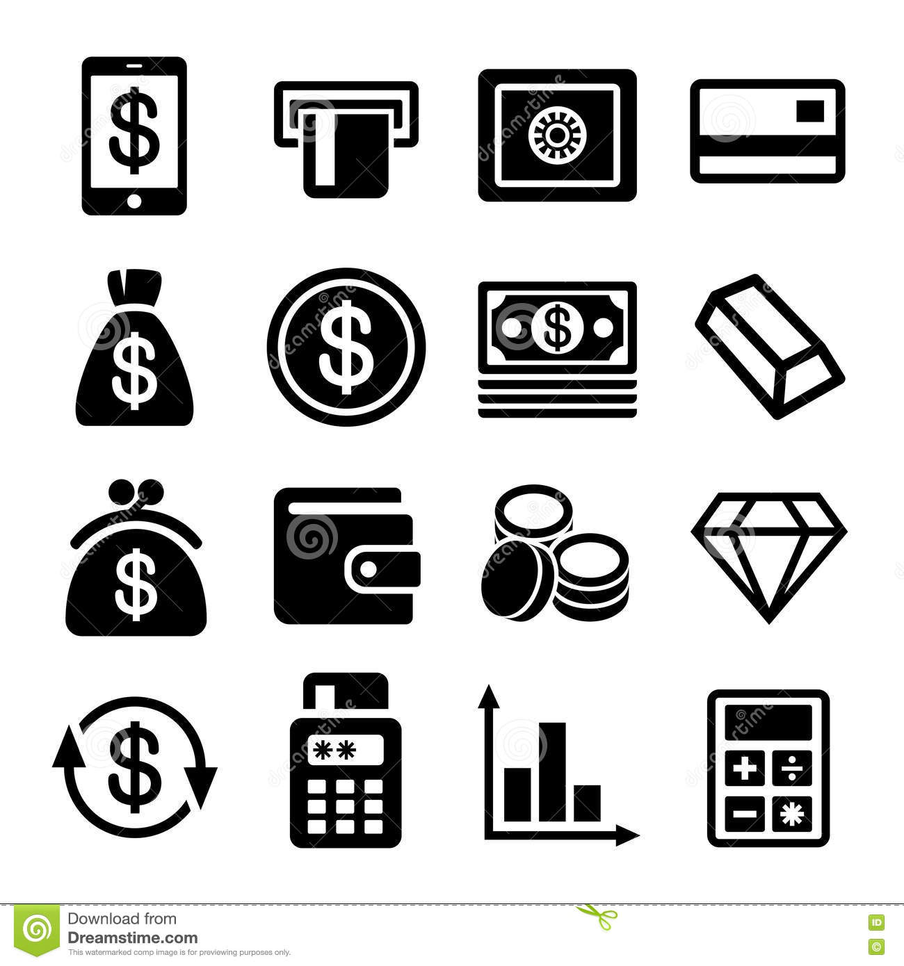 Money And Bank Icon Set Stock Photography - Image: 35893692