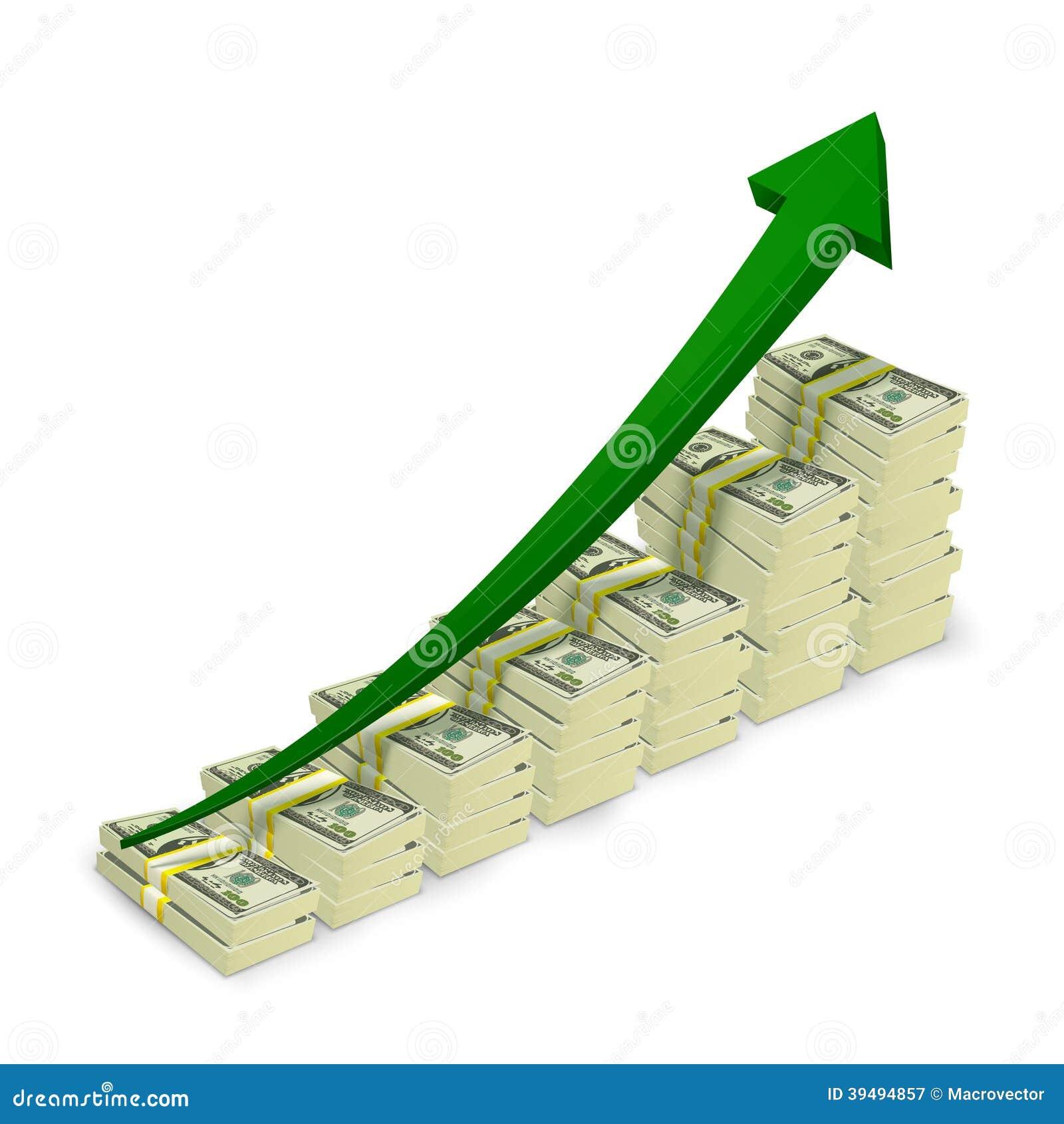 Money banknotes stacks rising