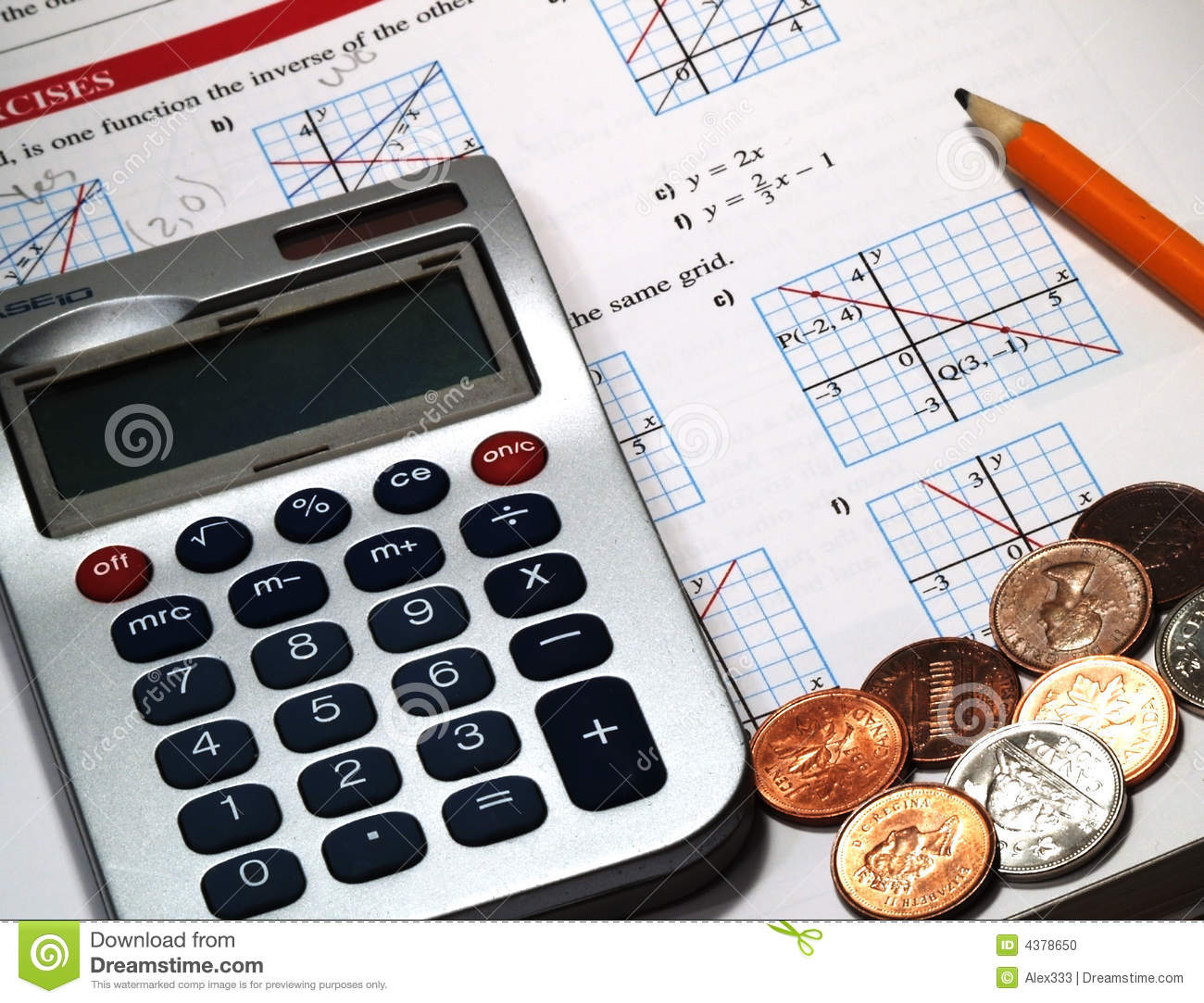 money  calculations and math stock photo