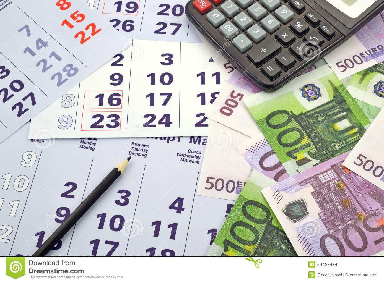 Money And Calculator On Month Calendar Stock Photo Image Of