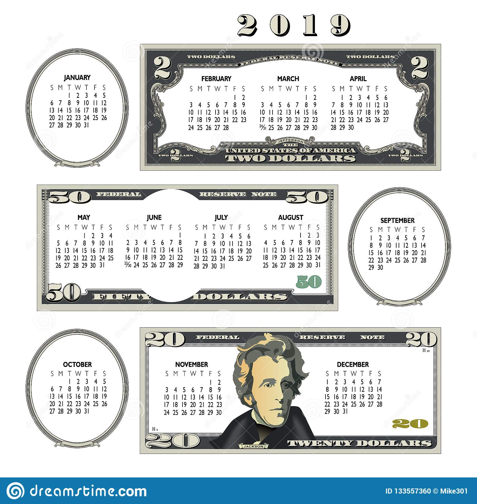 2019 money calendar, ideal for any business.