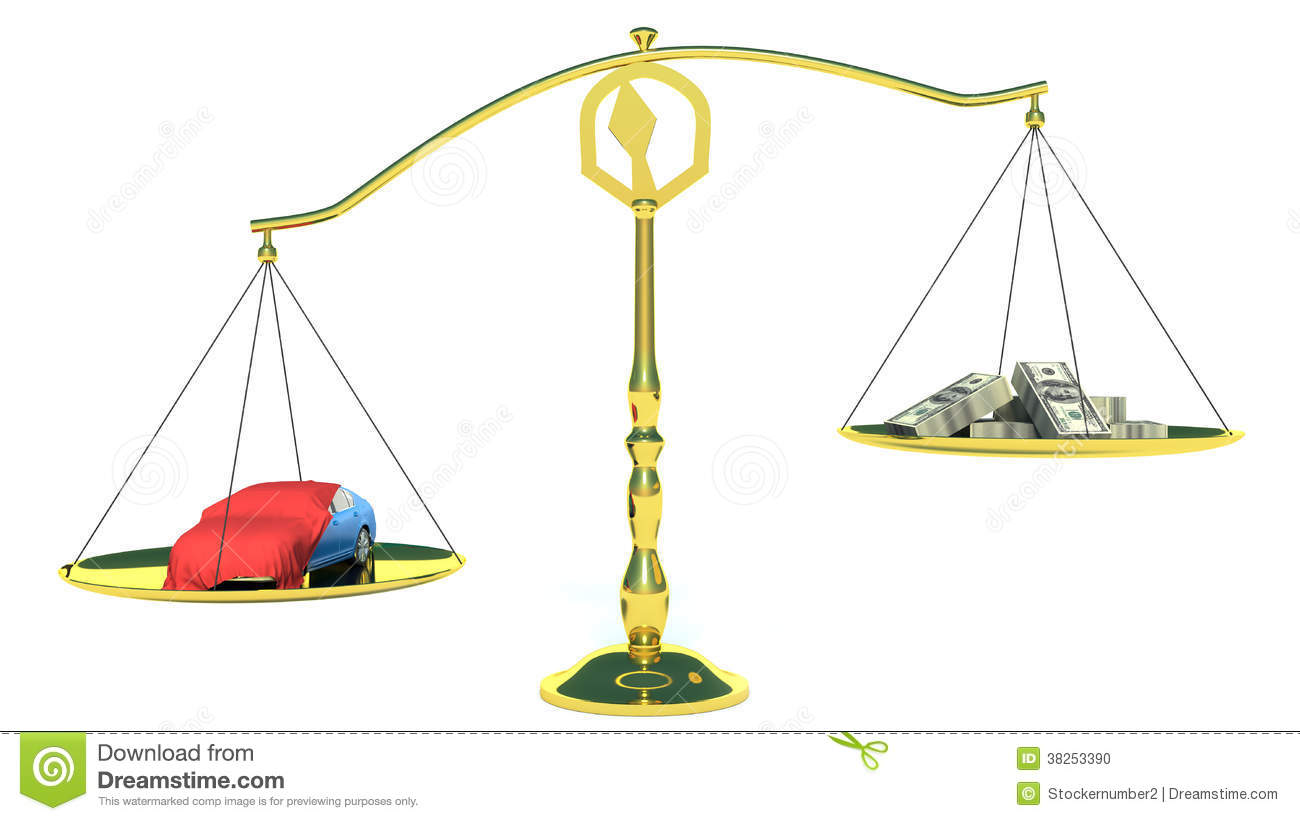 Money And The Car In The Gold Balance Scales. Isolated On ...