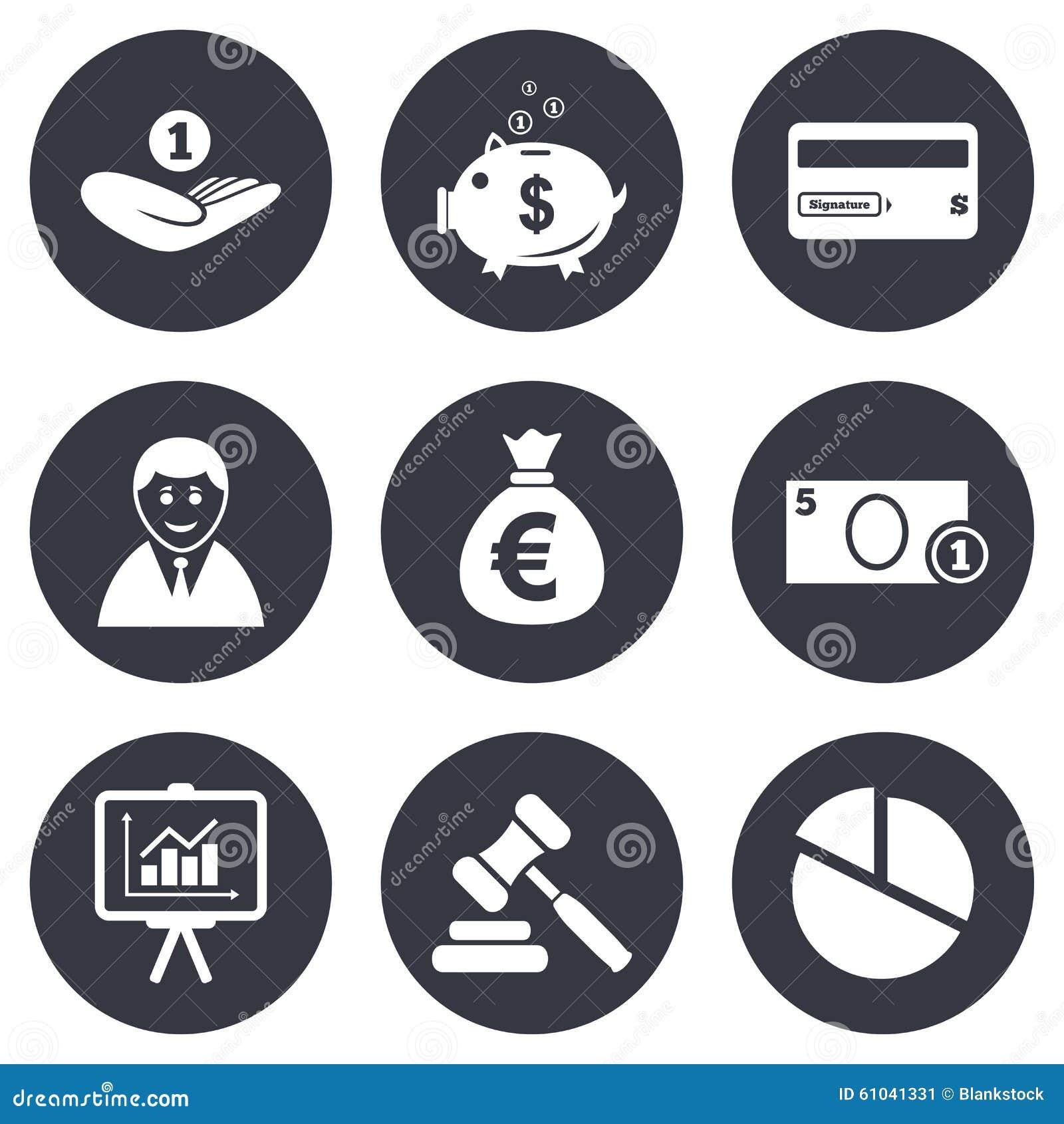 Money, Cash And Finance Icons. Piggy Bank Sign Stock ... X Arrow Money Bag
