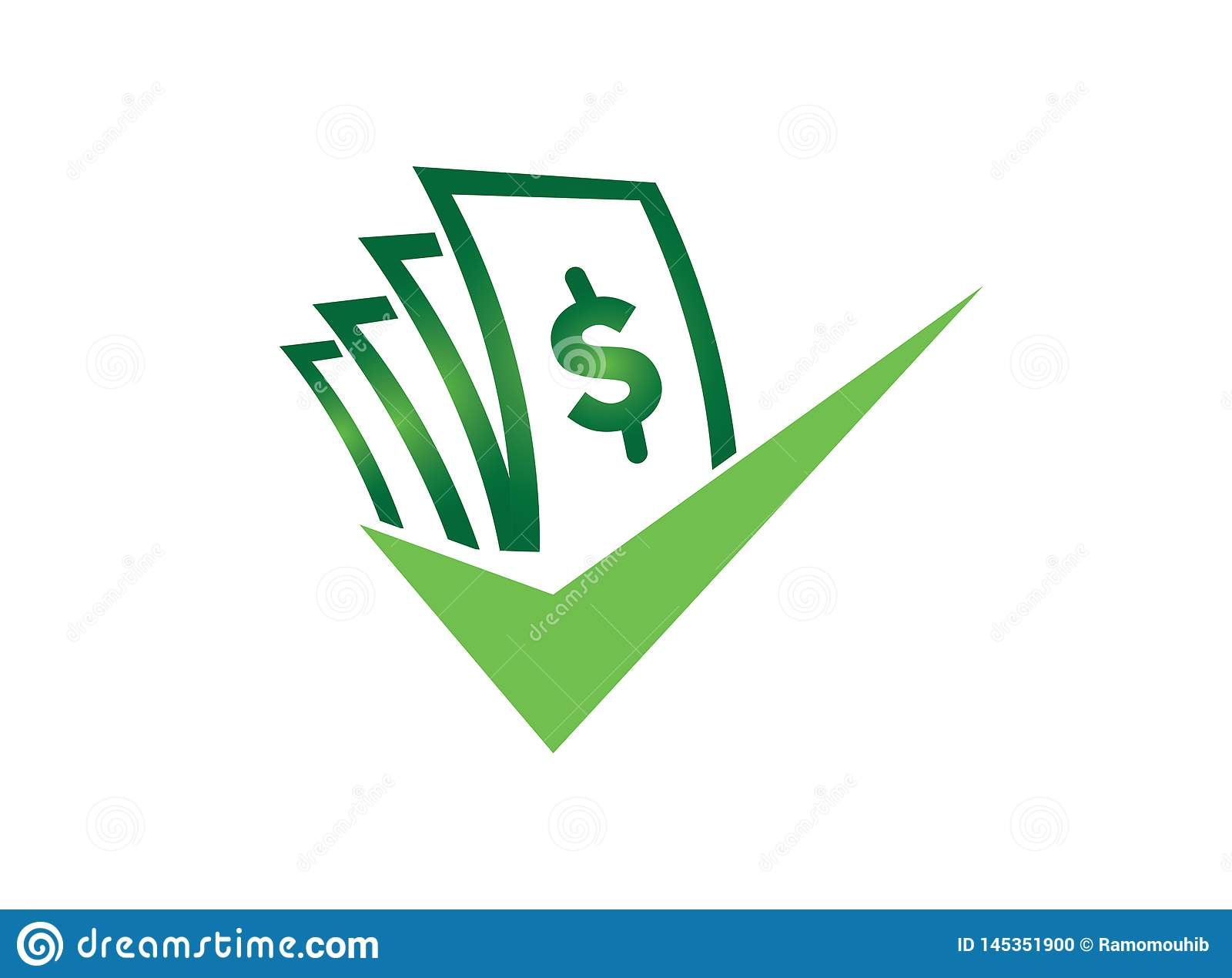 Money with check mark for logo design illustrator, good deal symbol, investment business icon