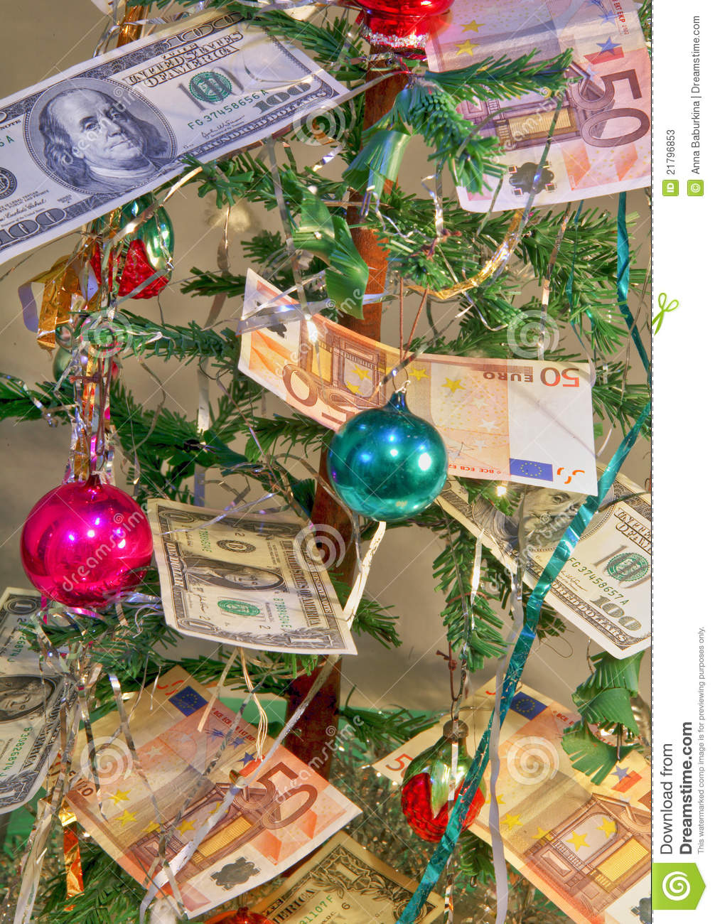 Money for Christmas gifts stock image. Image of still - 21796853