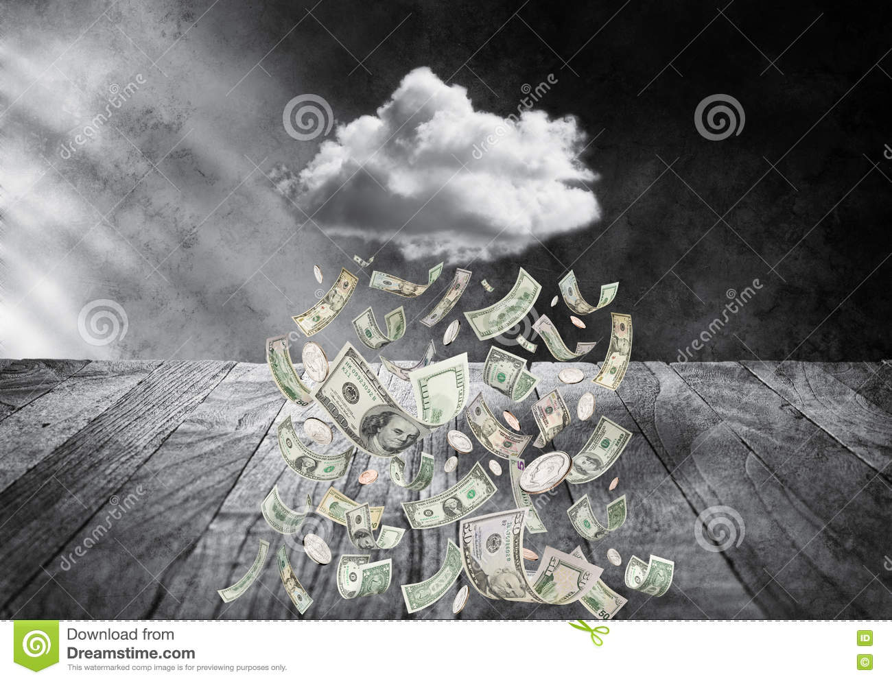 Money Cloud Raining Money