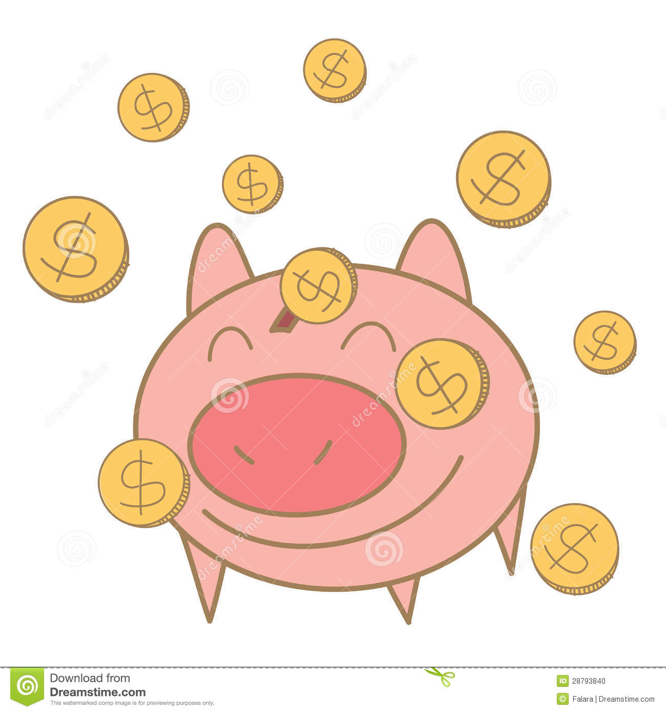 Money coin falling on pig money box