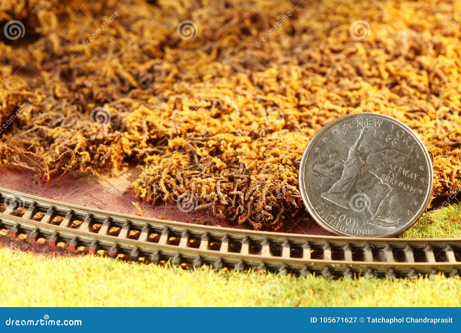 The money coin put on the miniature model railroad model scene.