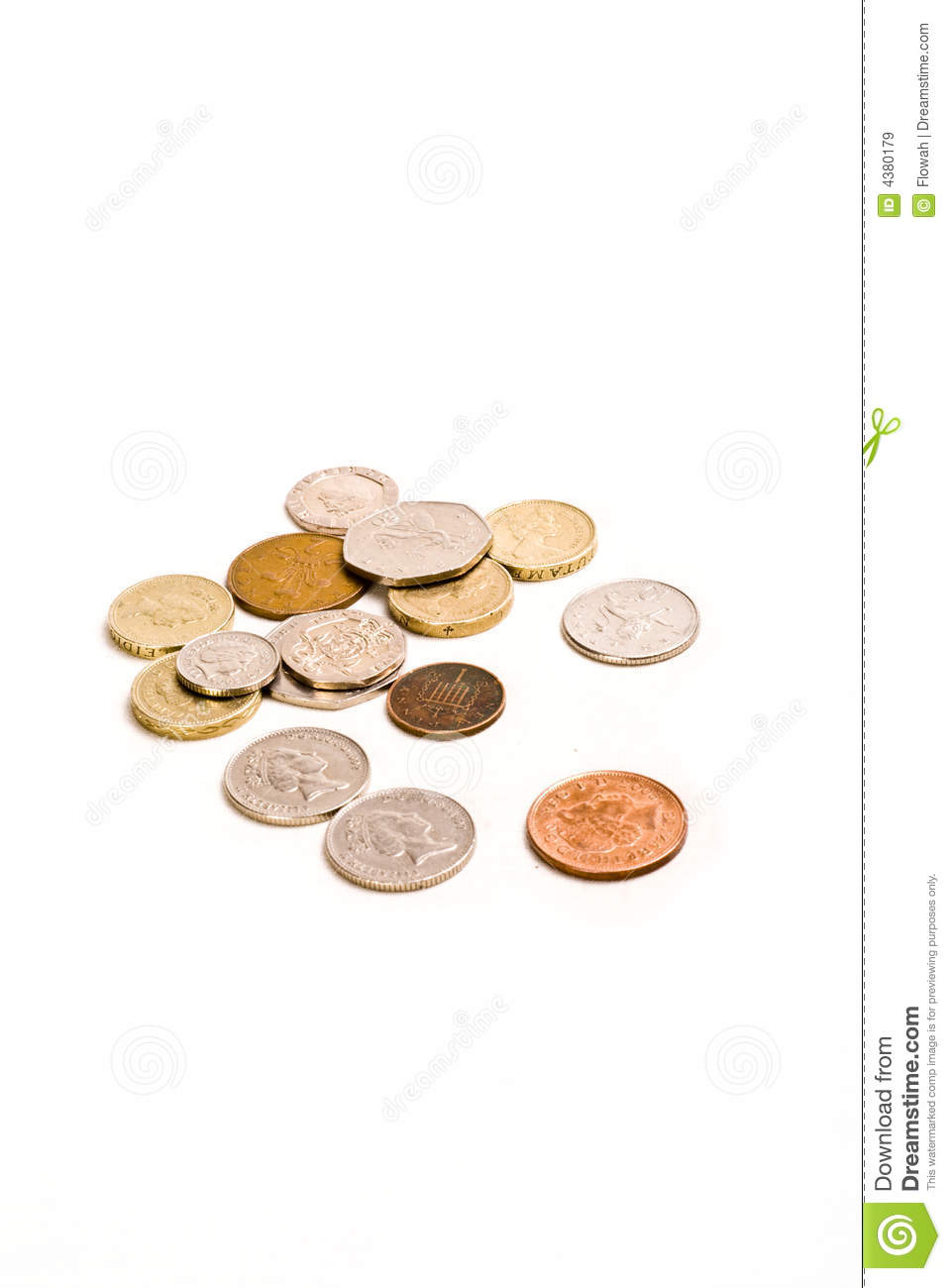 Money coins change on white background