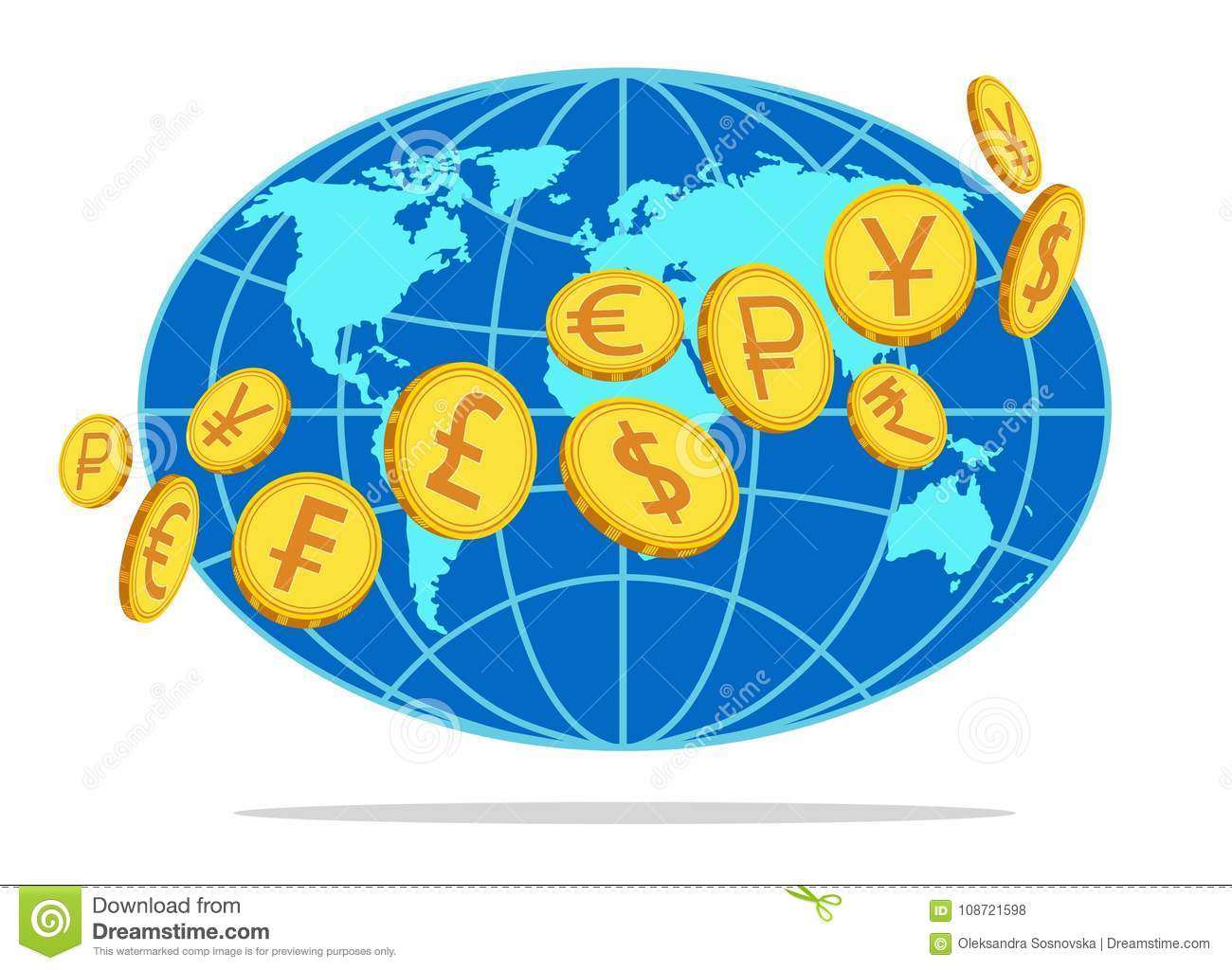 Money, coins revolving around the globe. Vector illustration
